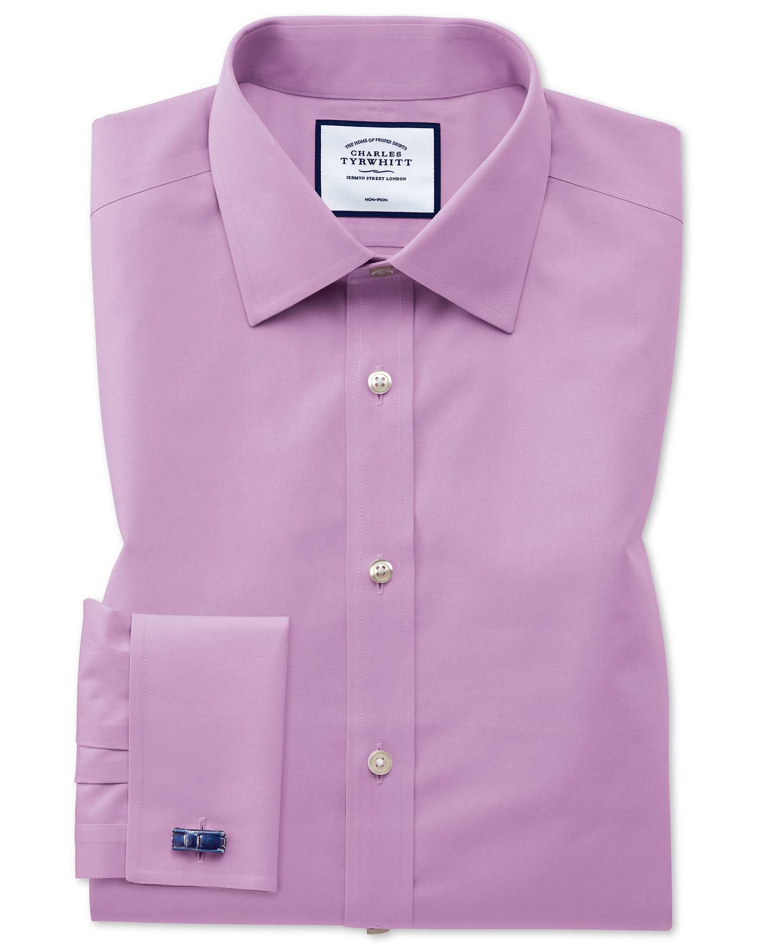 Slim Fit Non-Iron Violet Poplin Cotton Formal Shirt Single Cuff Size 16/32 by Charles Tyrwhitt