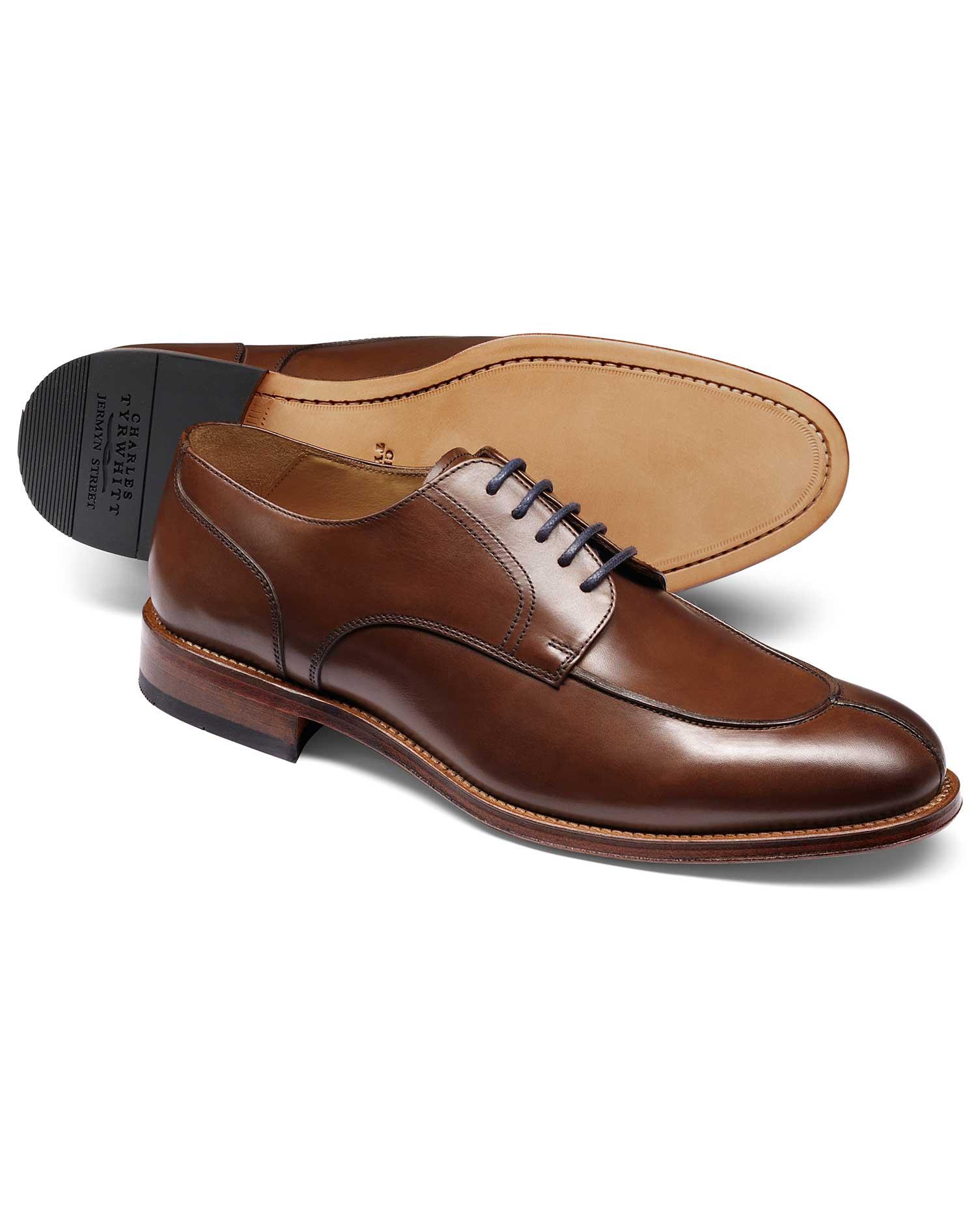 Brown Split Toe Derby Shoe Size 7.5 R by Charles Tyrwhitt