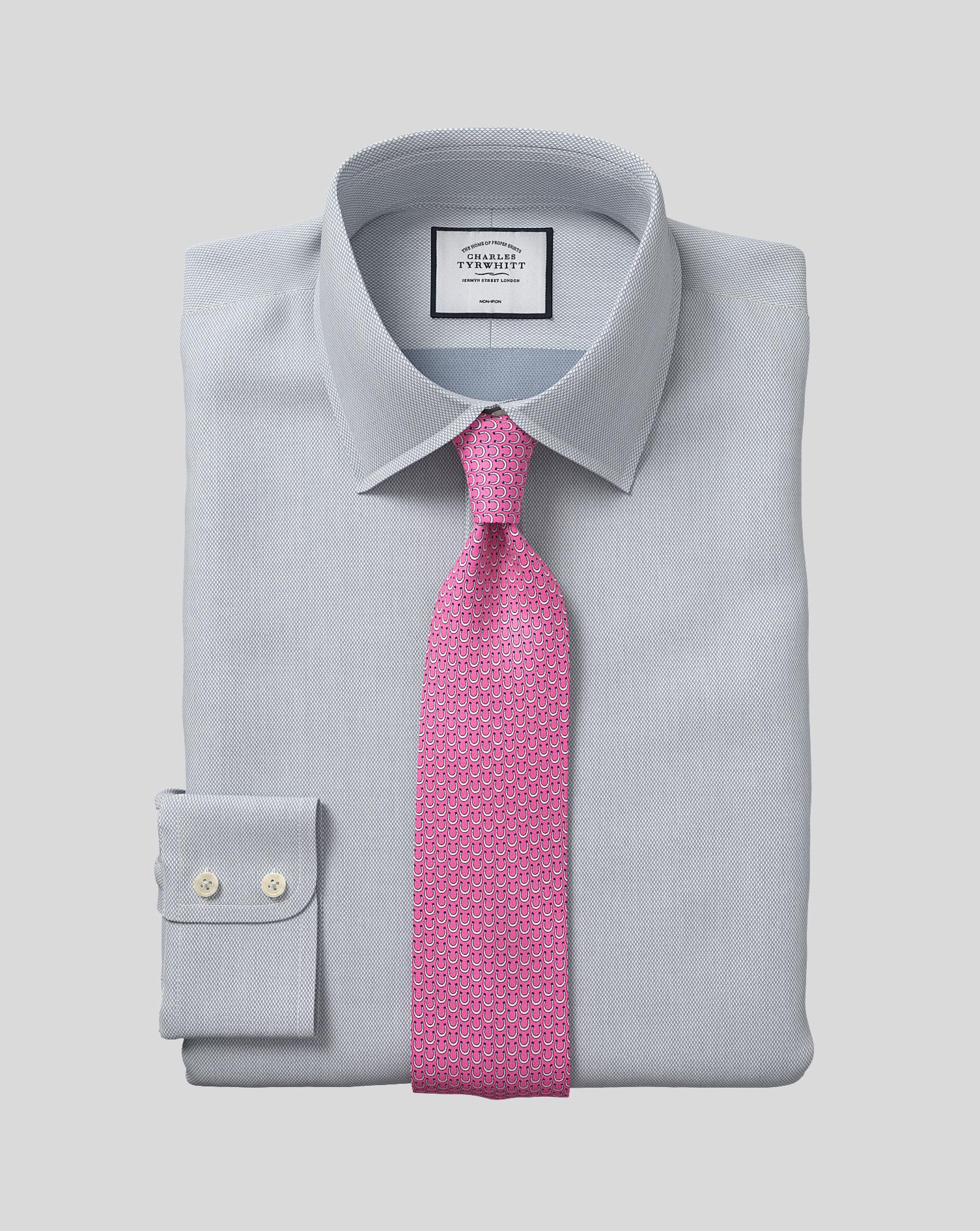 Cotton Classic Collar Non-Iron Micro Diamond Shirt - Grey