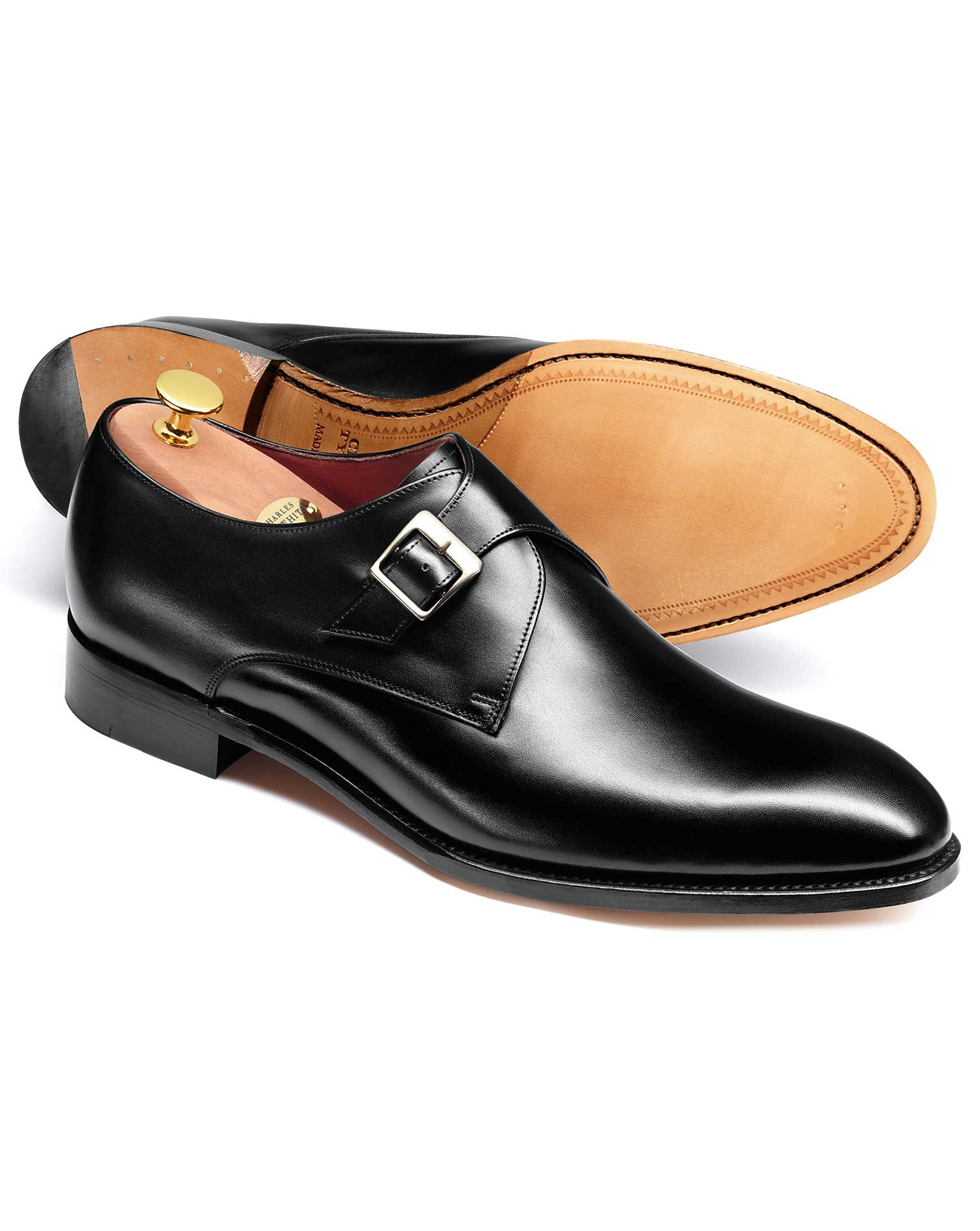 Black Wilcove Calf Leather Monk Shoes Size 9 R by Charles Tyrwhitt