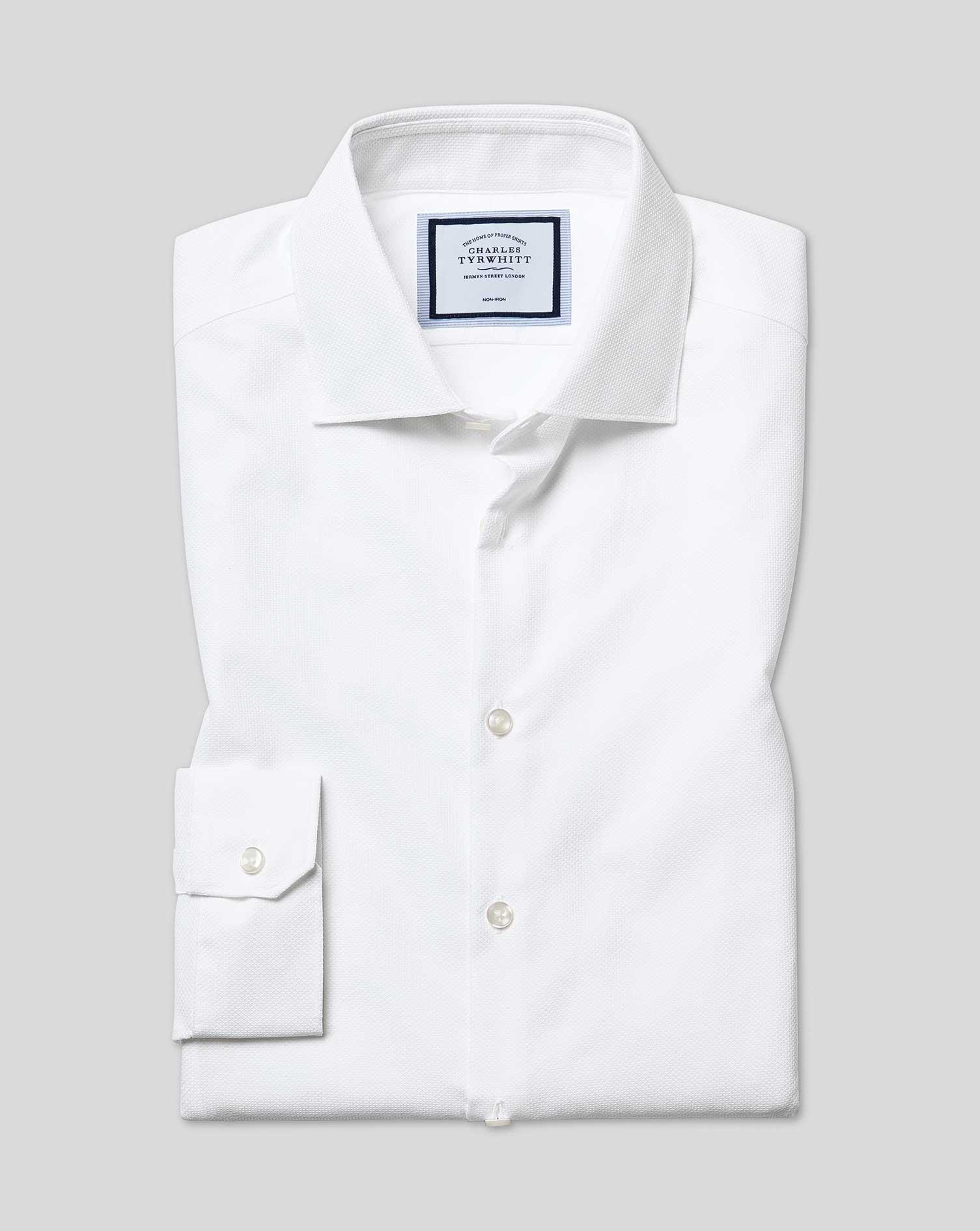 Cotton Super Slim Fit Non-Iron Natural Stretch Textures White Shirt