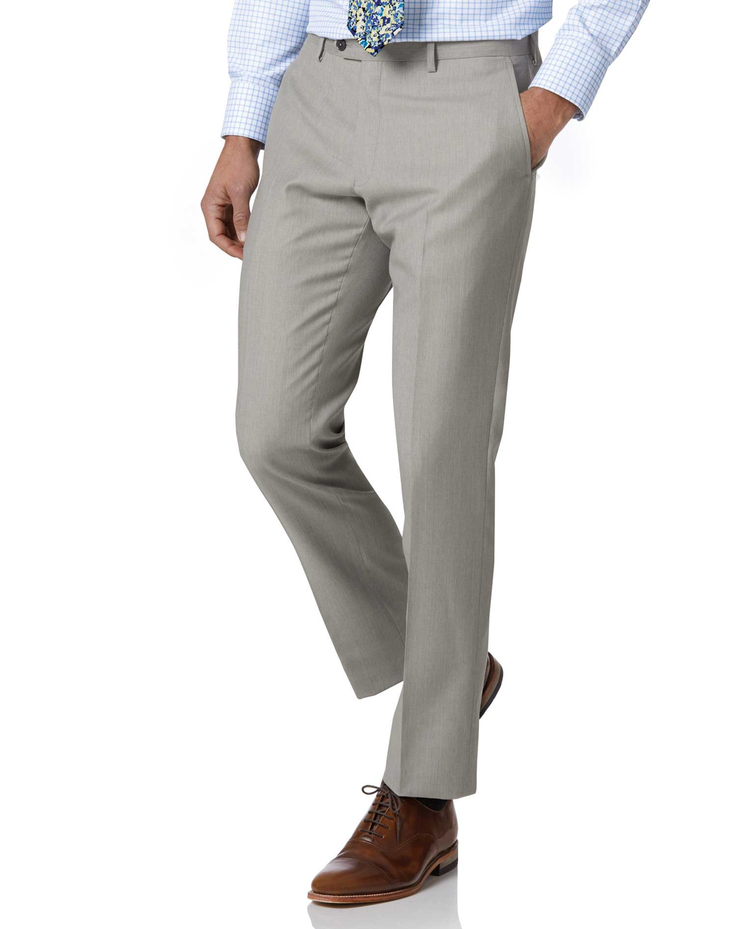 Light Grey Slim Fit Twill Business Suit Trousers Size W38 L32 by Charles Tyrwhitt