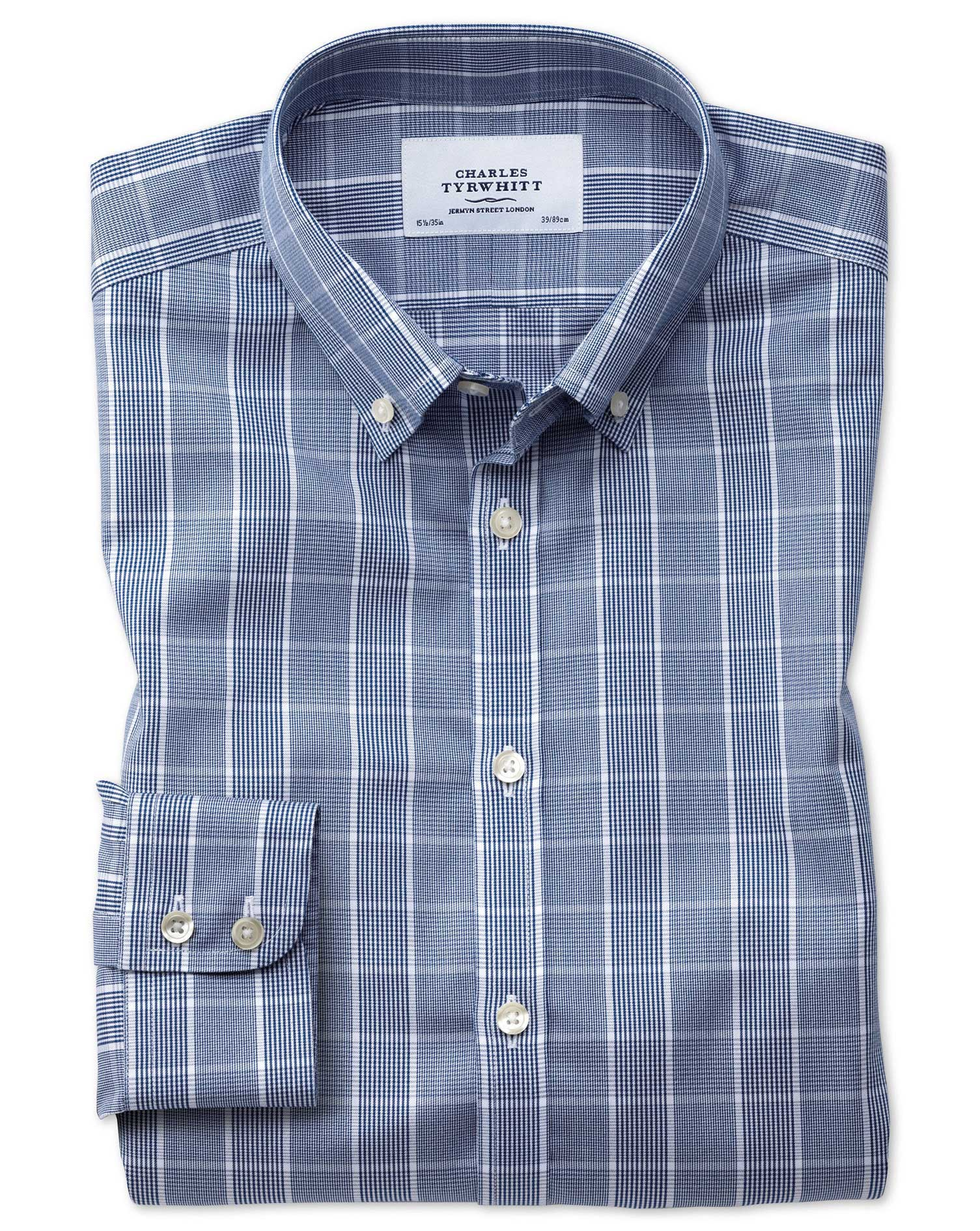 Classic Fit Button-Down Non-Iron Prince Of Wales Navy Blue and White Cotton Formal Shirt Single Cuff