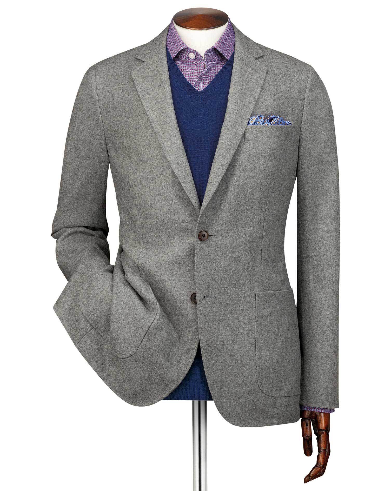 Slim Fit Light Grey Modern Wool Blazer Size 44 Long by Charles Tyrwhitt