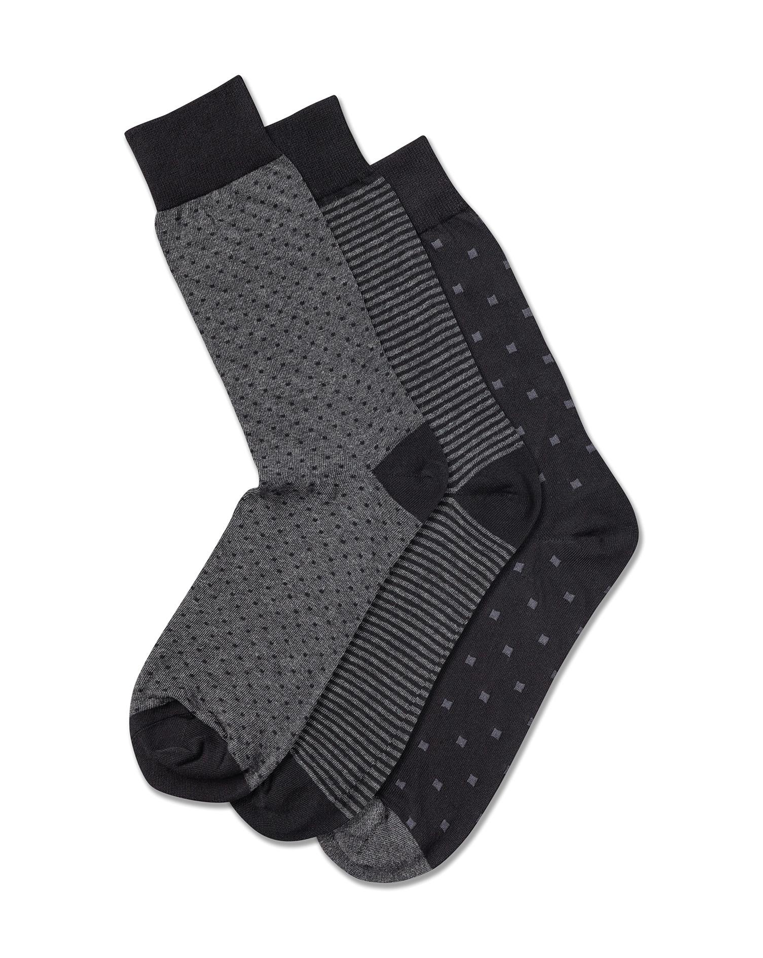 Multi Pattern Cotton Rich 3 Pack Socks Size Large by Charles Tyrwhitt