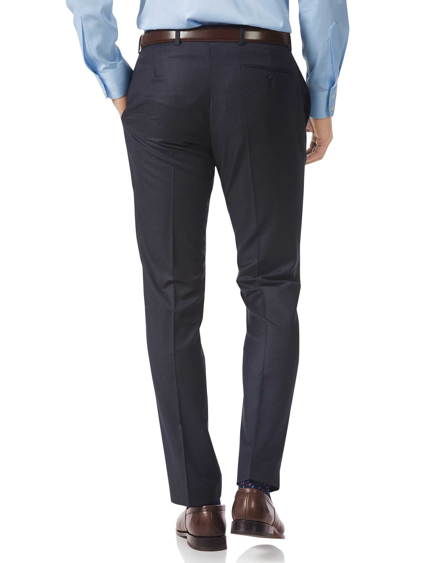Airforce blue slim fit Italian suit trousers