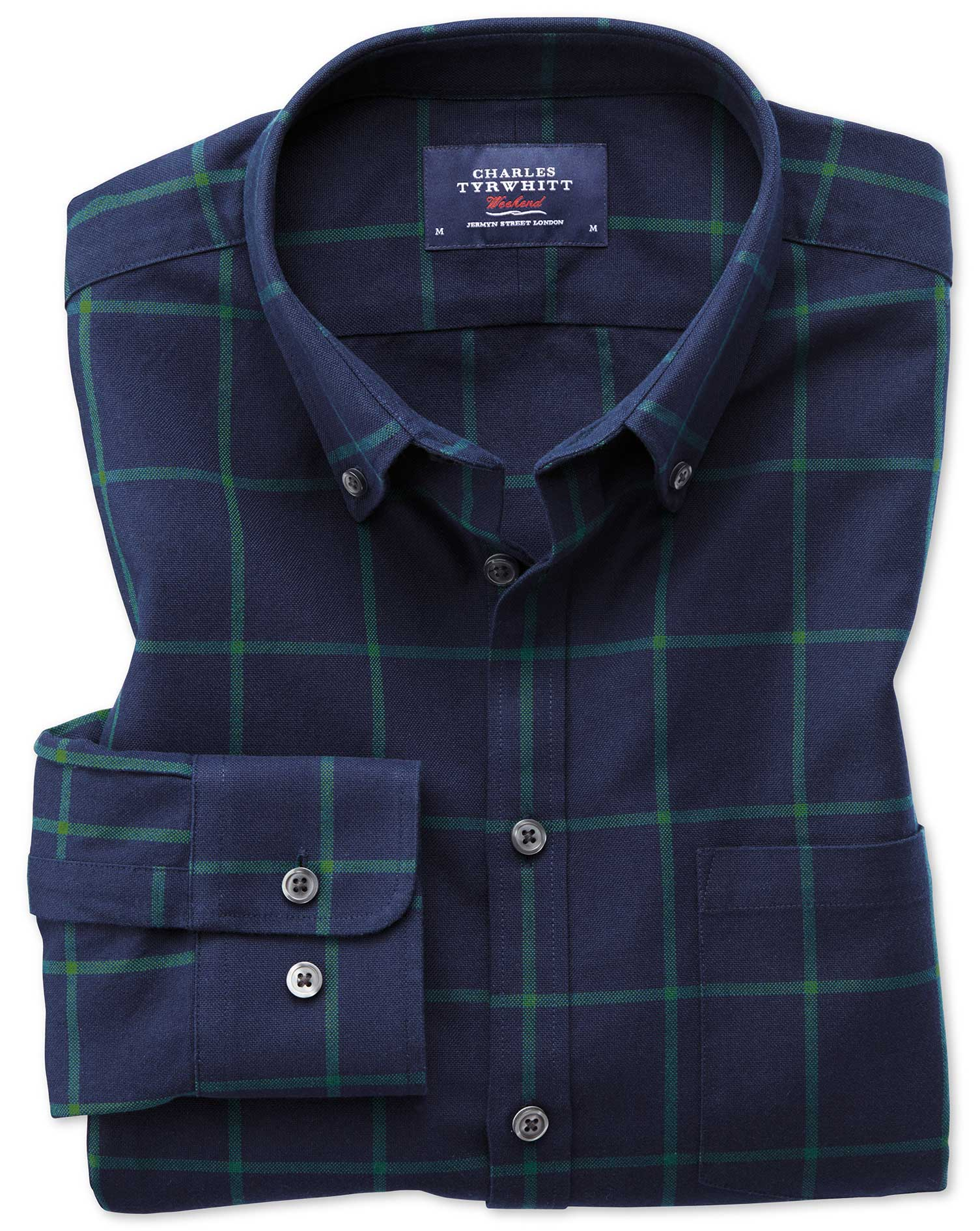 Slim Fit Button-Down Washed Oxford Navy Blue and Green Check Cotton Shirt Single Cuff Size XS by Cha