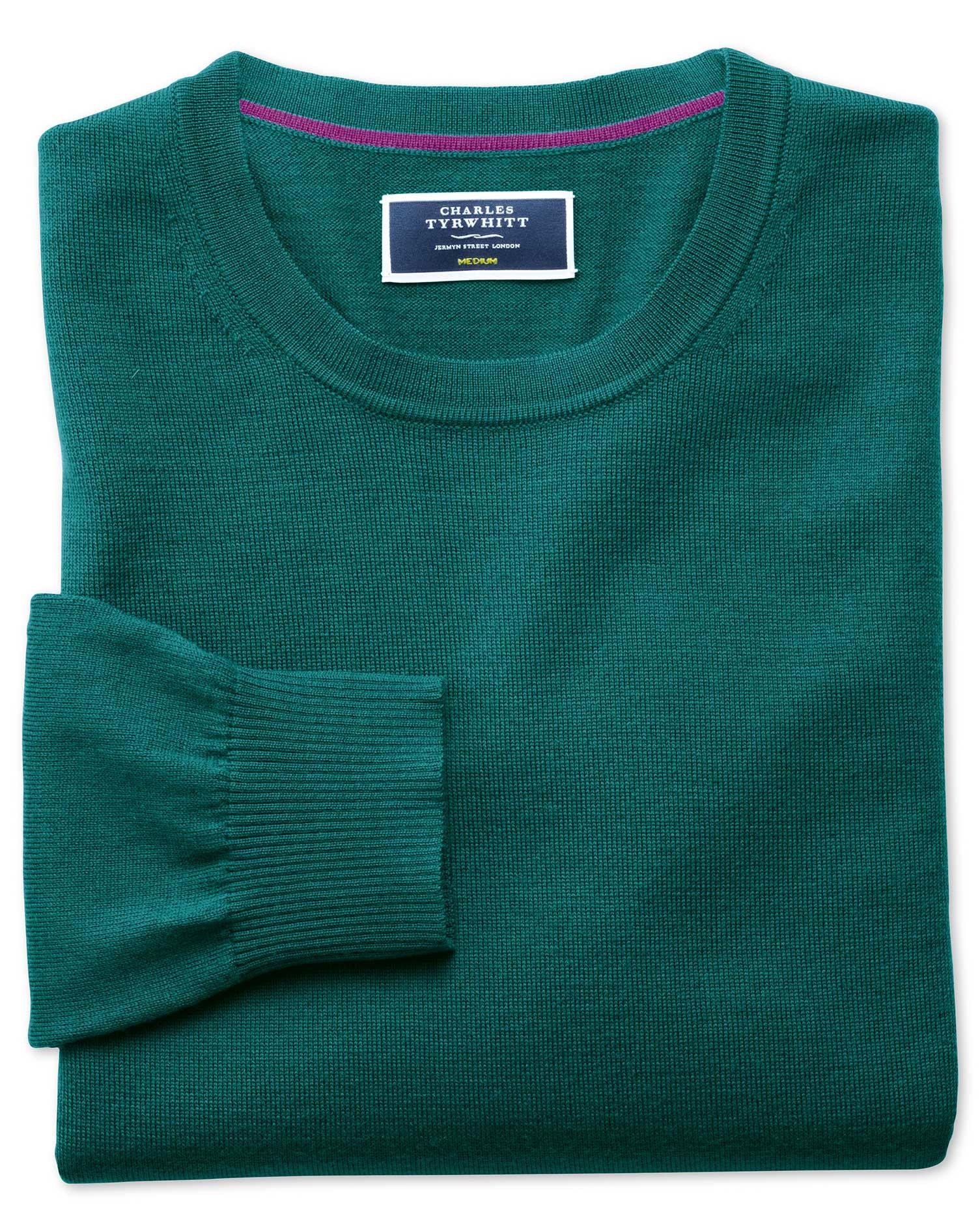 Teal Merino Wool Crew Neck Jumper Size Large by Charles Tyrwhitt