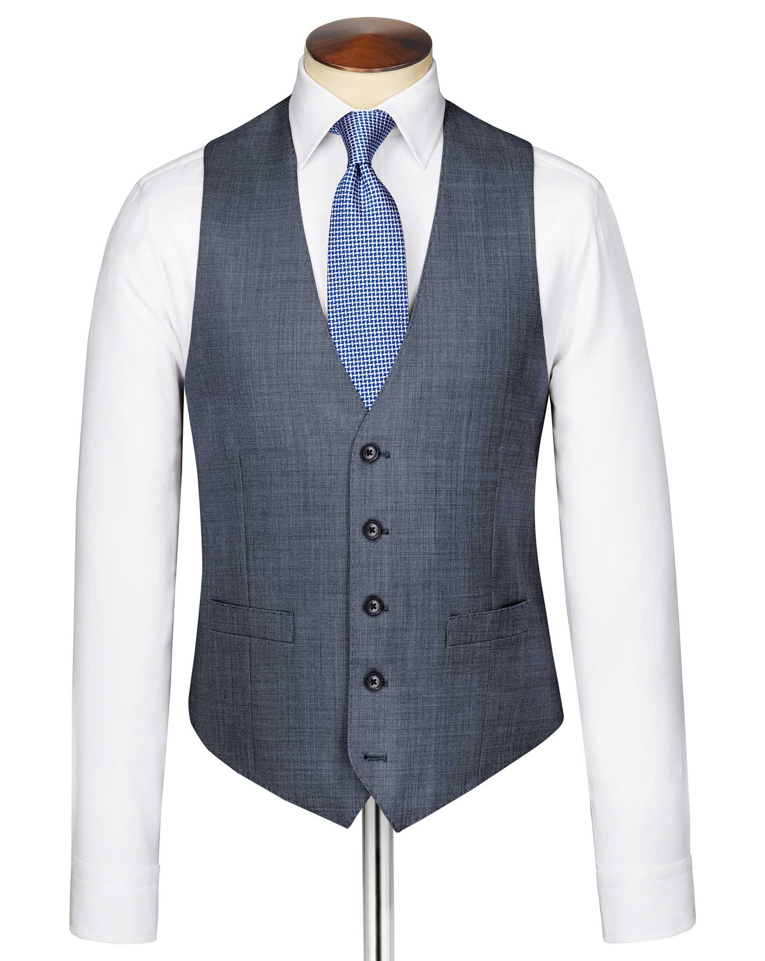 Light Blue Adjustable Fit Sharkskin Travel Suit Wool Waistcoat Size w36 by Charles Tyrwhitt