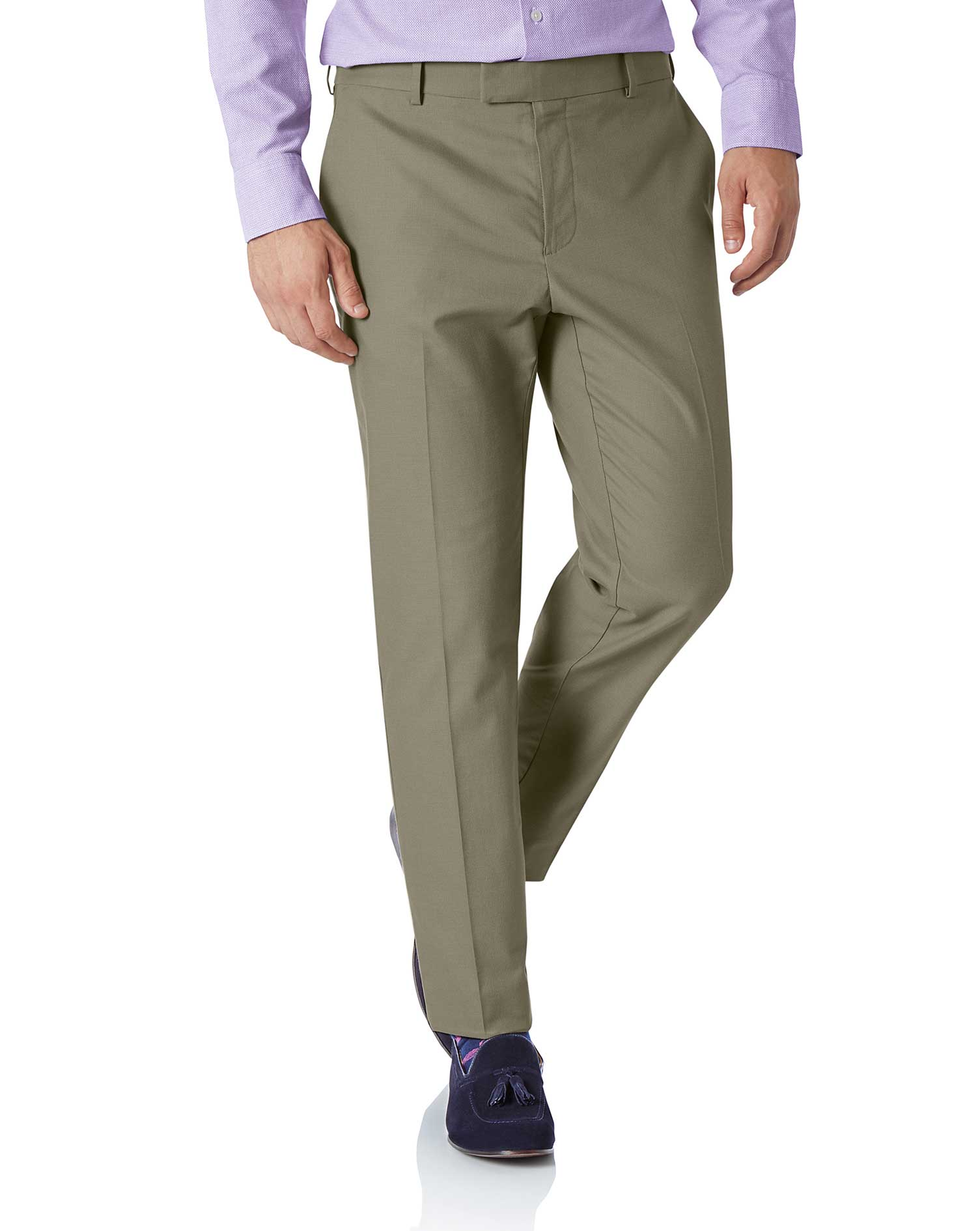 Olive Extra Slim Fit Stretch Non-Iron Trousers Size W32 L30 by Charles Tyrwhitt