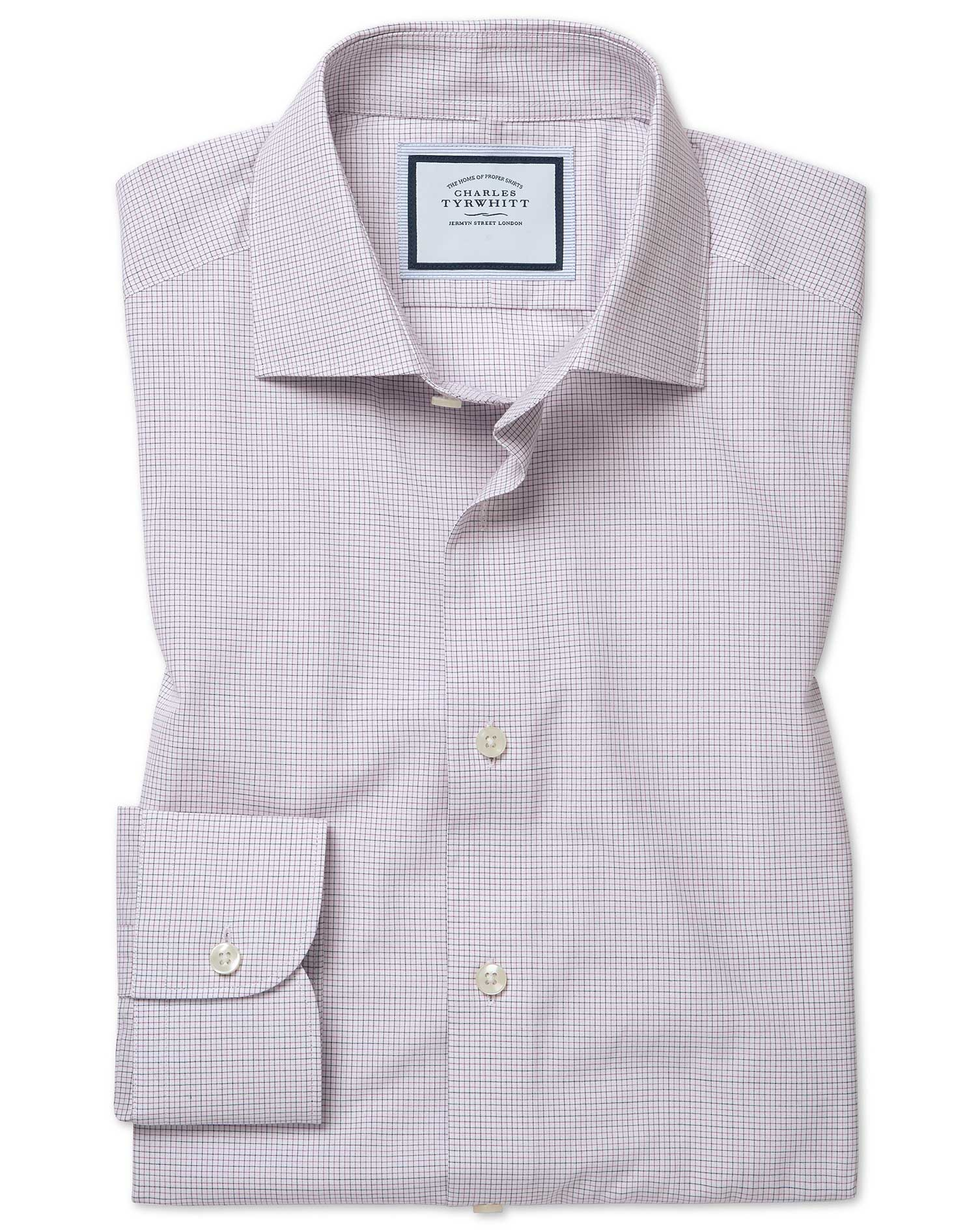 Extra Slim Fit Peached Egyptian Cotton Purple Check Formal Shirt Single Cuff Size 15/35 by Charles T