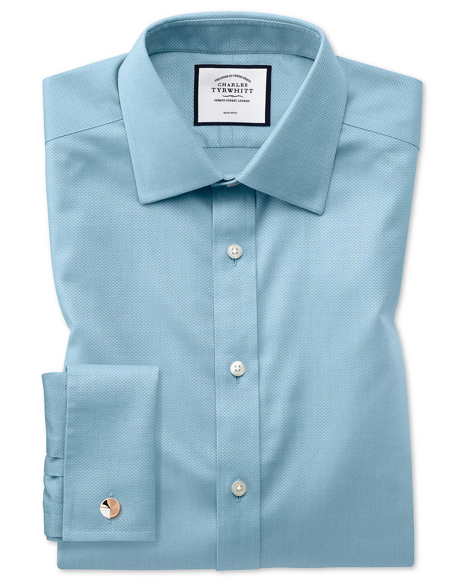 Slim Fit Non-Iron Teal Triangle Weave Cotton Formal Shirt Single Cuff Size 15.5/37 by Charles Tyrwhi