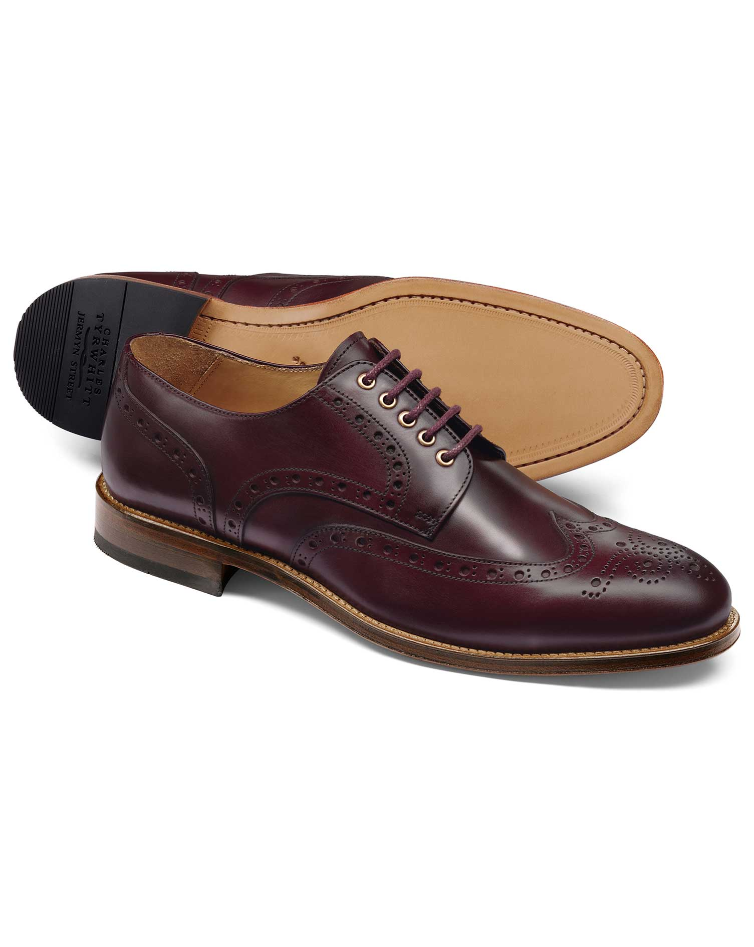 Oxblood Eyelet Derby Brogue Shoe Size 8 R by Charles Tyrwhitt