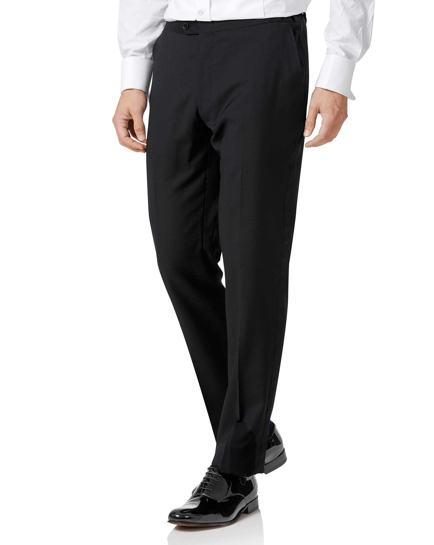 Black Slim Fit Dinner Trousers Size W32 L34 by Charles Tyrwhitt