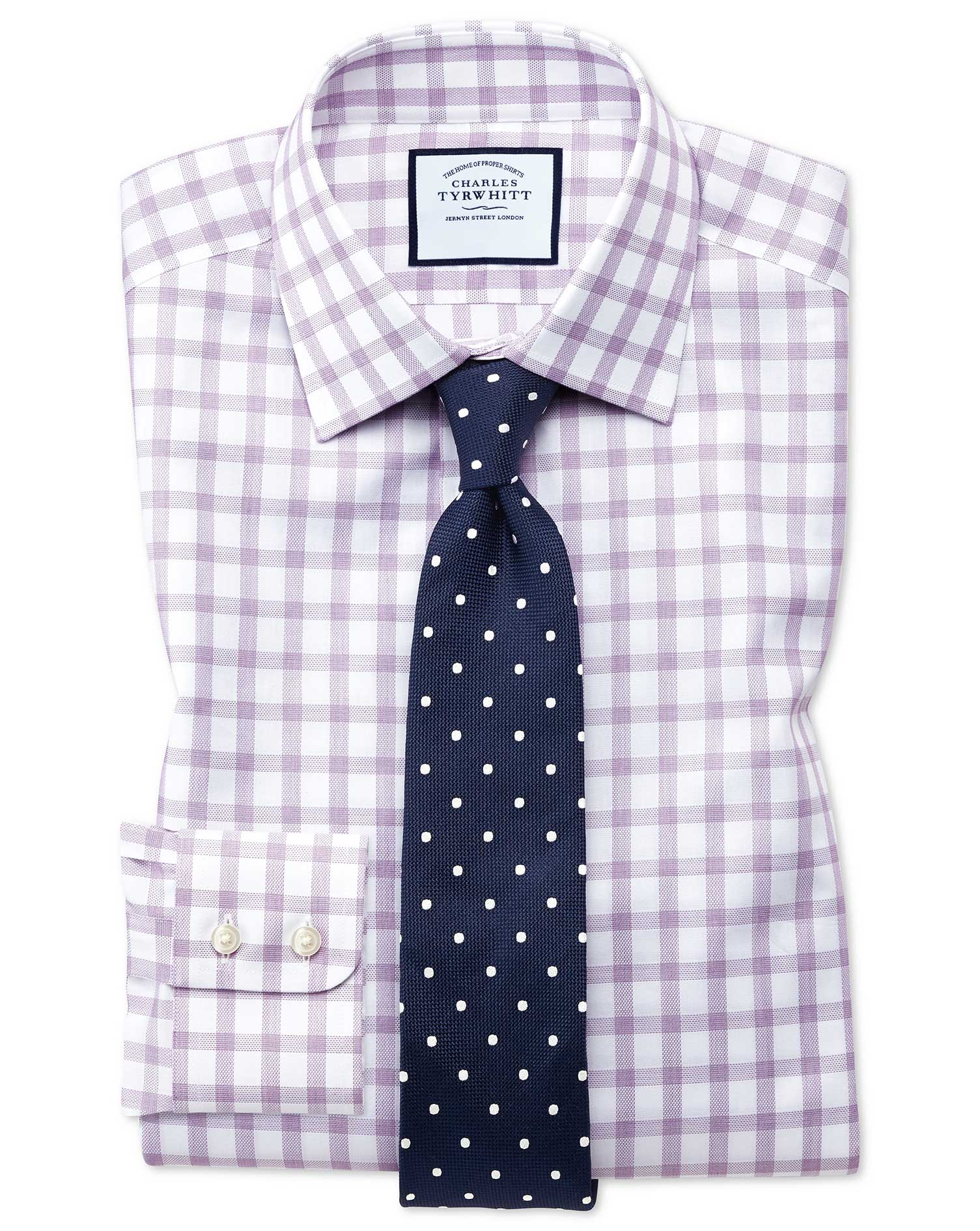 Slim Fit Windowpane Check Purple Cotton Formal Shirt Single Cuff Size 14.5/33 by Charles Tyrwhitt