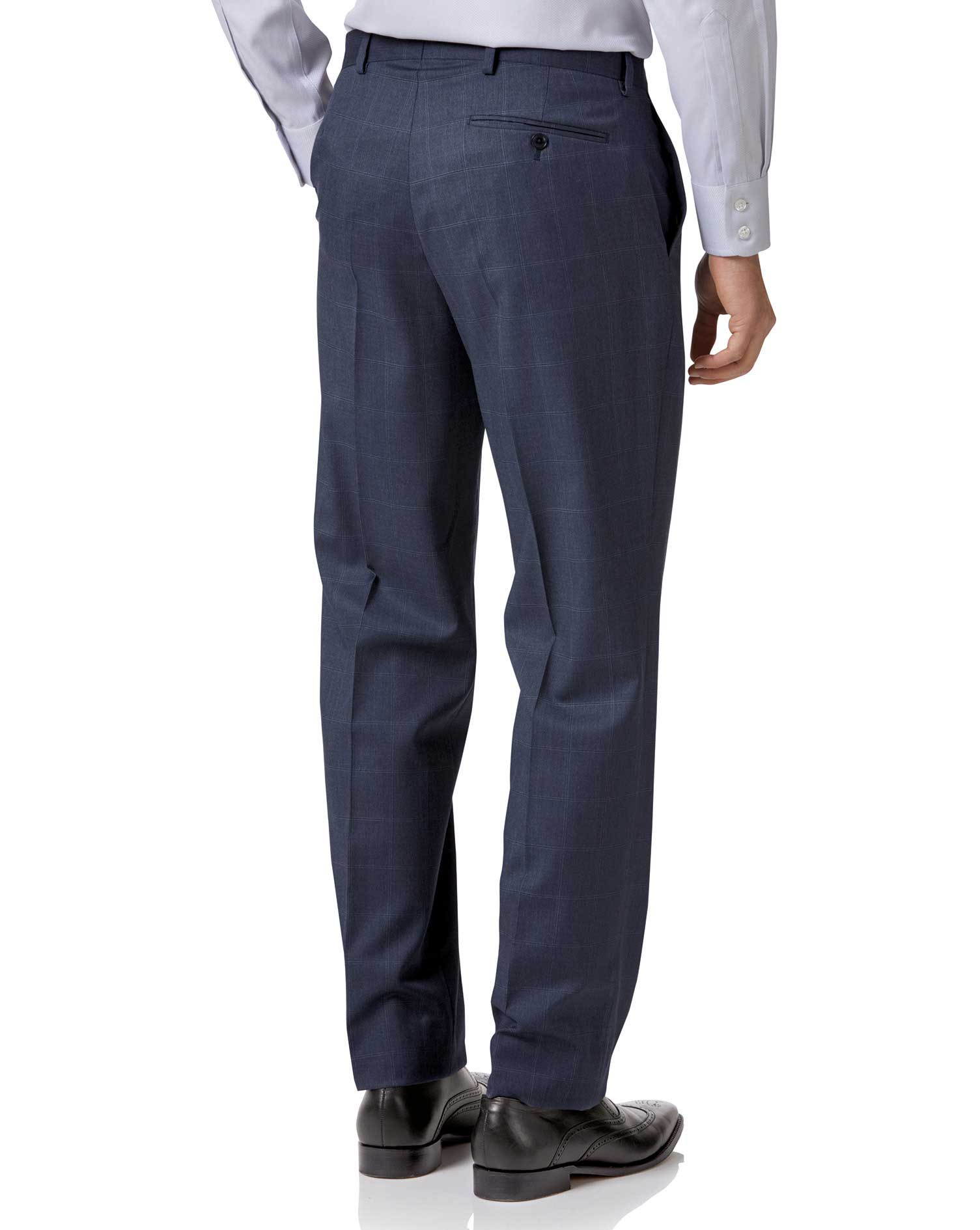 Airforce blue classic fit Italian suit pants