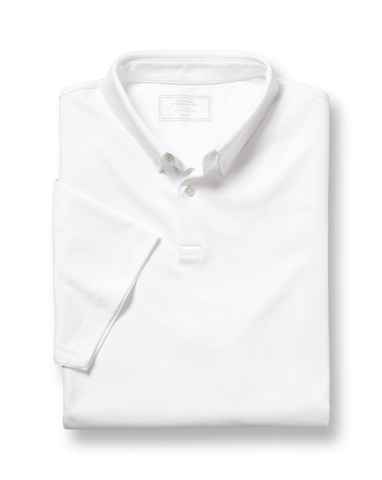 White Jersey Cotton Polo Size Large by Charles Tyrwhitt
