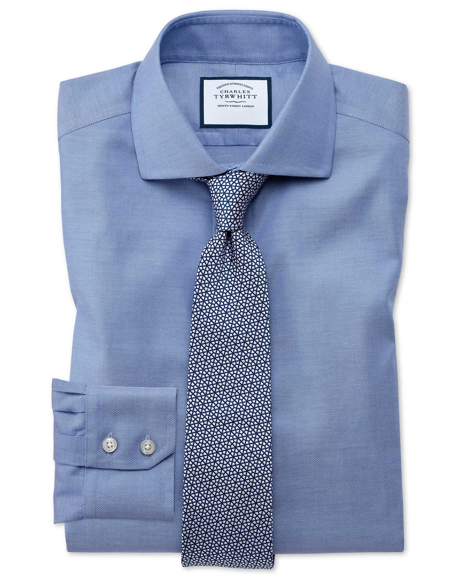 Extra Slim Fit Cutaway Non-Iron Cotton Stretch Oxford Mid Blue Formal Shirt Single Cuff Size 15/34 b