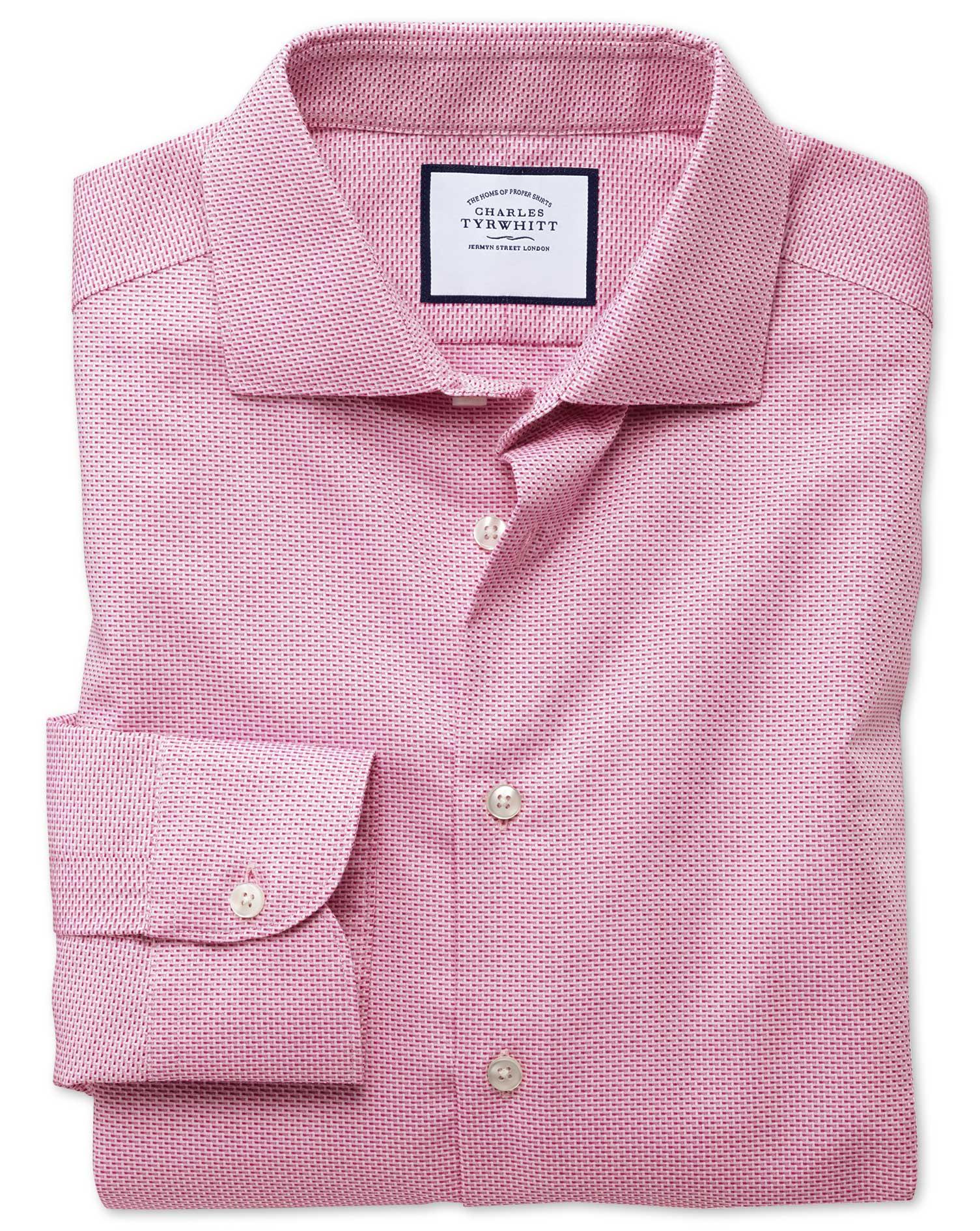 Slim Fit Semi-Cutaway Business Casual Non-Iron Modern Textures Pink Dash Cotton Formal Shirt Single