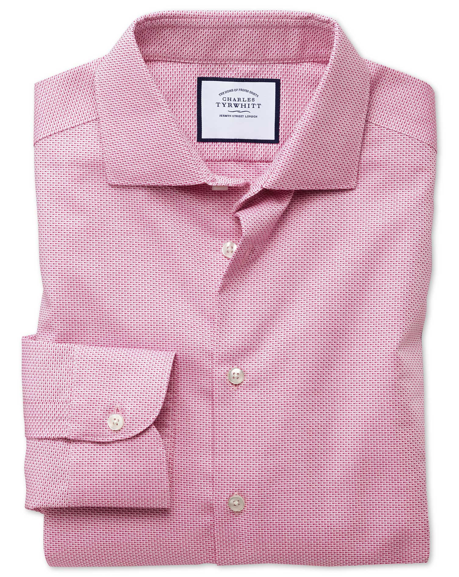 Extra Slim Fit Semi-Cutaway Business Casual Non-Iron Modern Textures Pink Dash Cotton Formal Shirt S