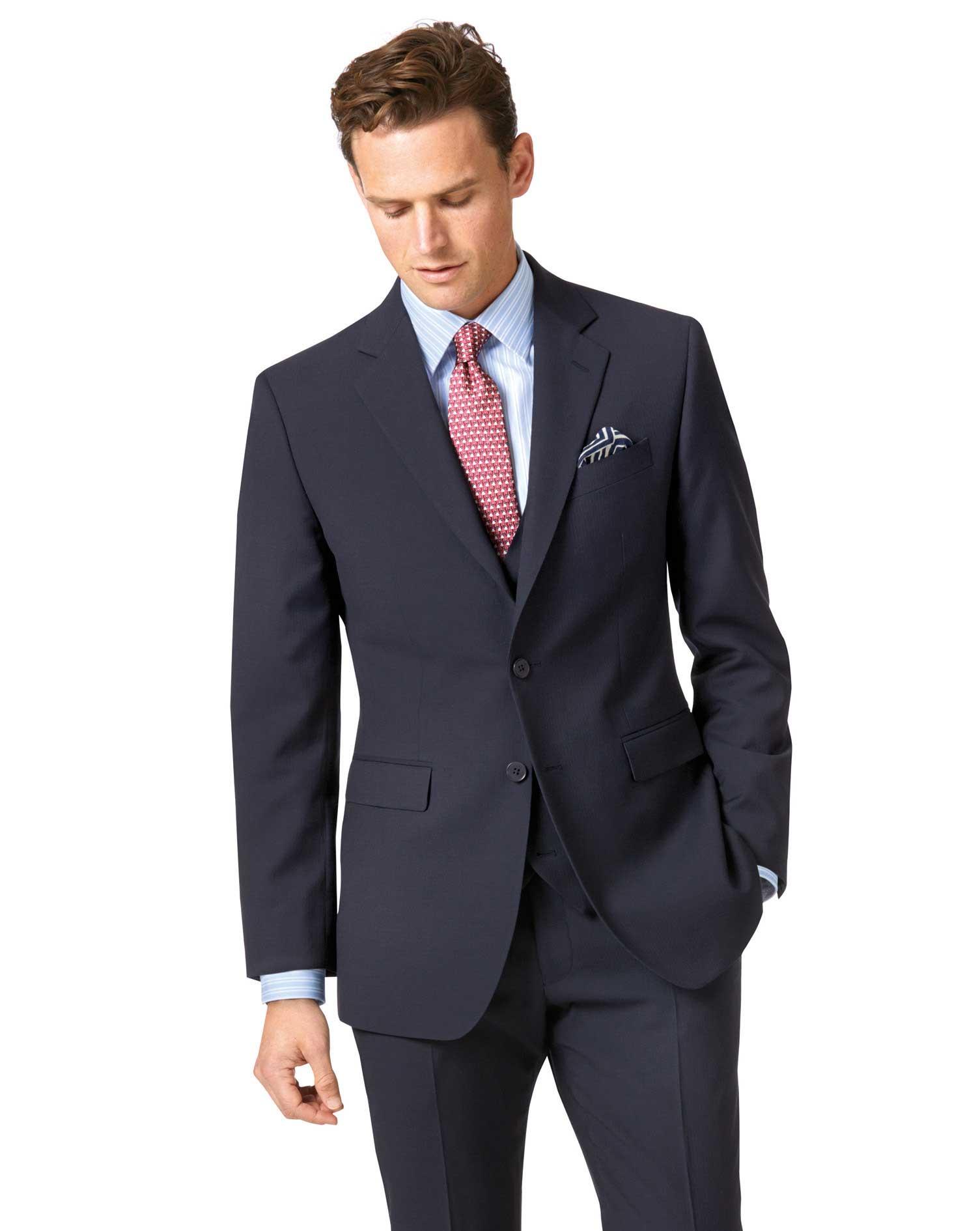 Navy Slim Fit Herringbone Business Suit Wool Jacket Size 38 Regular by Charles Tyrwhitt