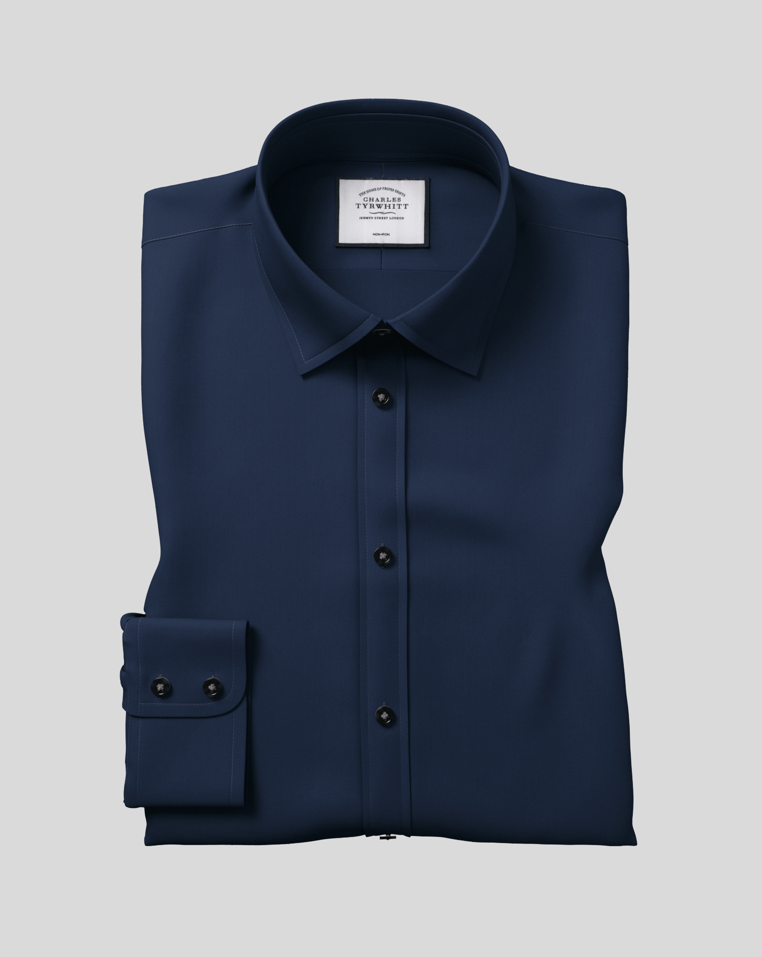 Cotton Classic Fit Navy Non-Iron Twill Shirt