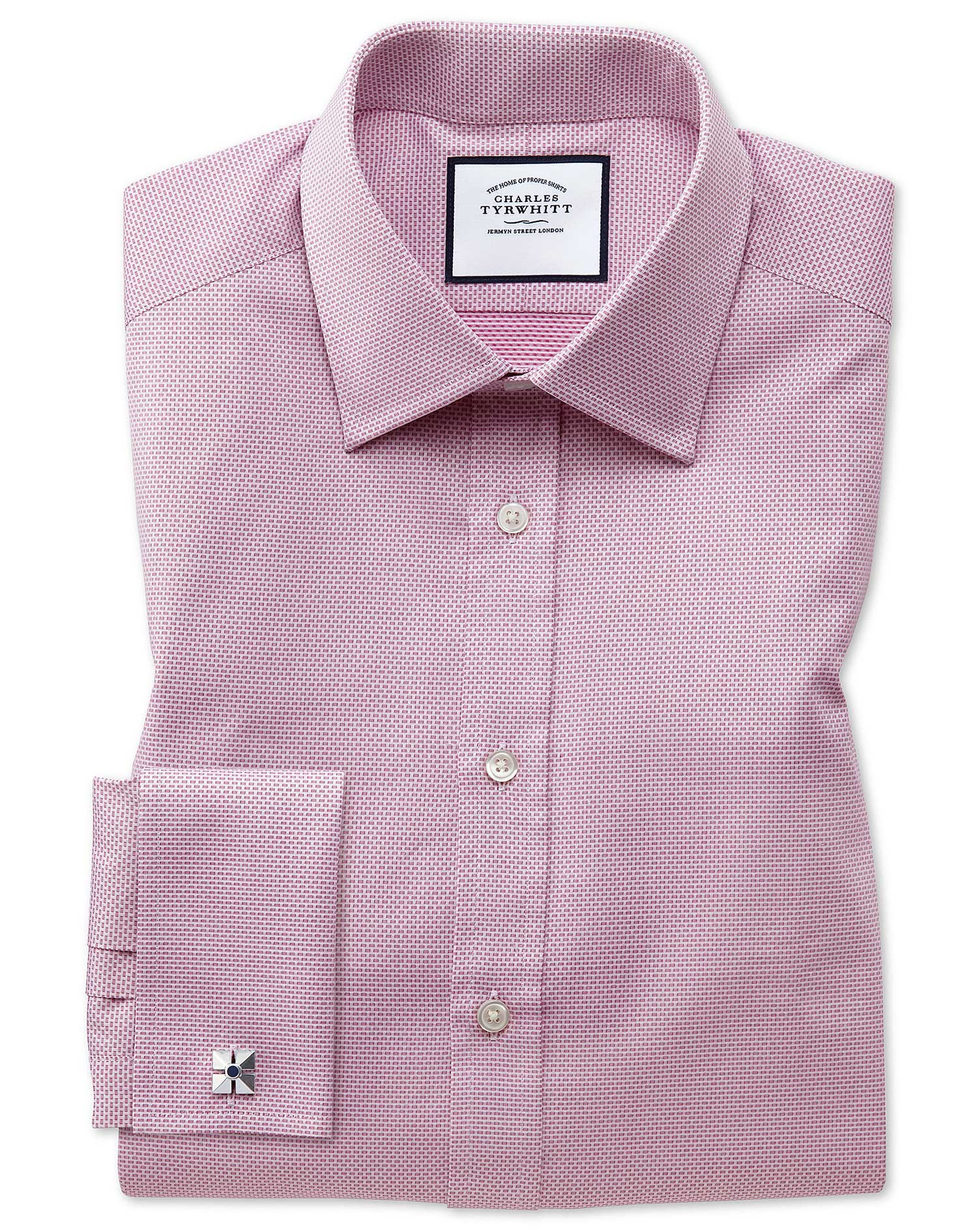 Classic Fit Magenta Cube Weave Egyptian Cotton Formal Shirt Single Cuff Size 16.5/34 by Charles Tyrw