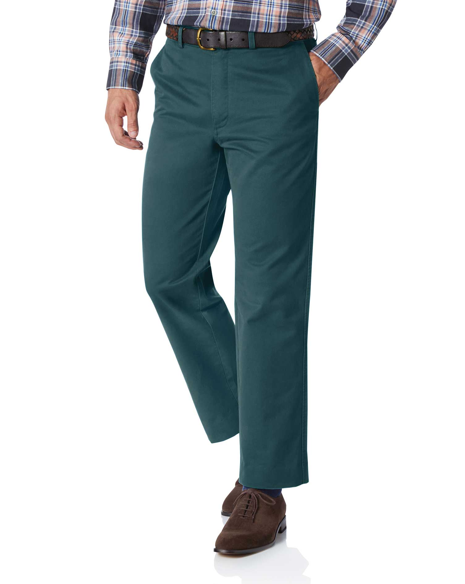 Teal Classic Fit Flat Front Washed Cotton Chino Trousers Size W38 L30 by Charles Tyrwhitt