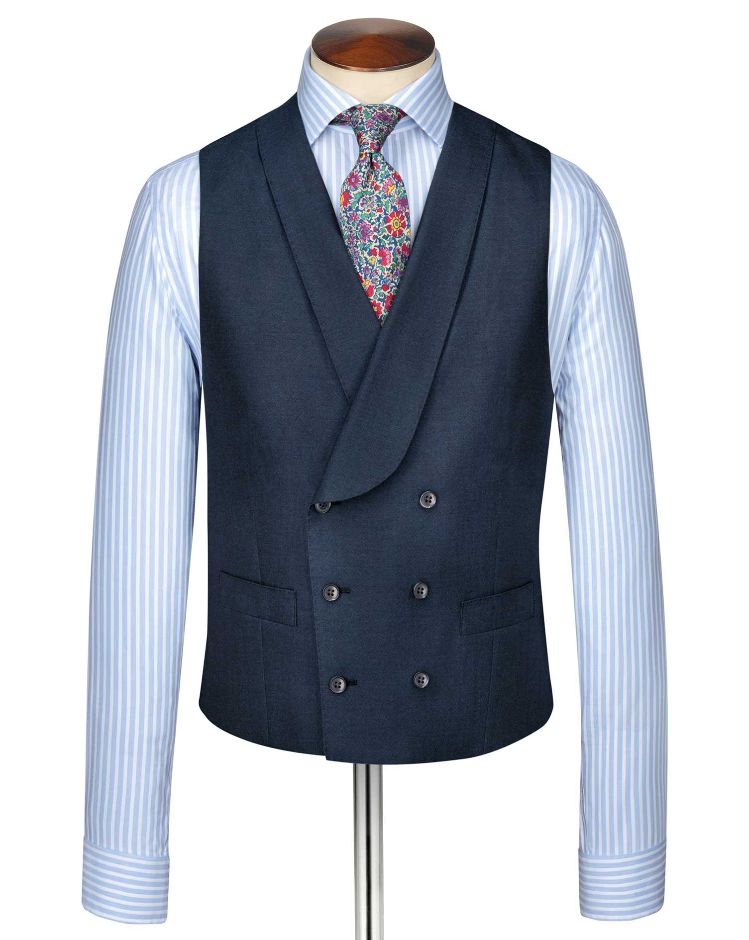 Blue Adjustable Fit British Panama Luxury Suit Wool Waistcoat Size w44 by Charles Tyrwhitt
