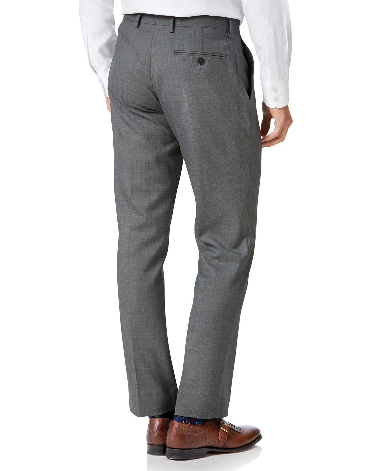 Light grey slim fit sharkskin travel suit pants