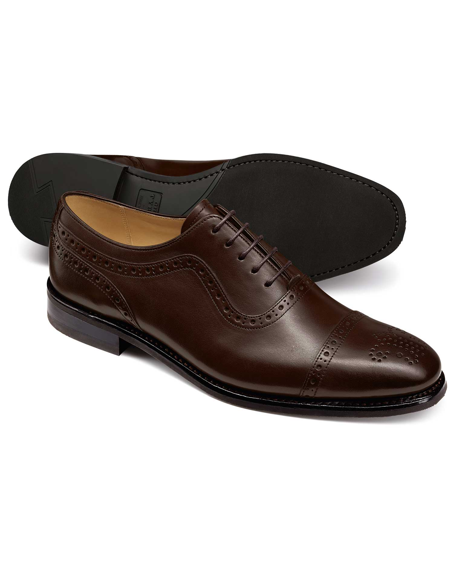 Chocolate Goodyear Welted Oxford Brogue Rubber Sole Shoe Size 6.5 R by Charles Tyrwhitt