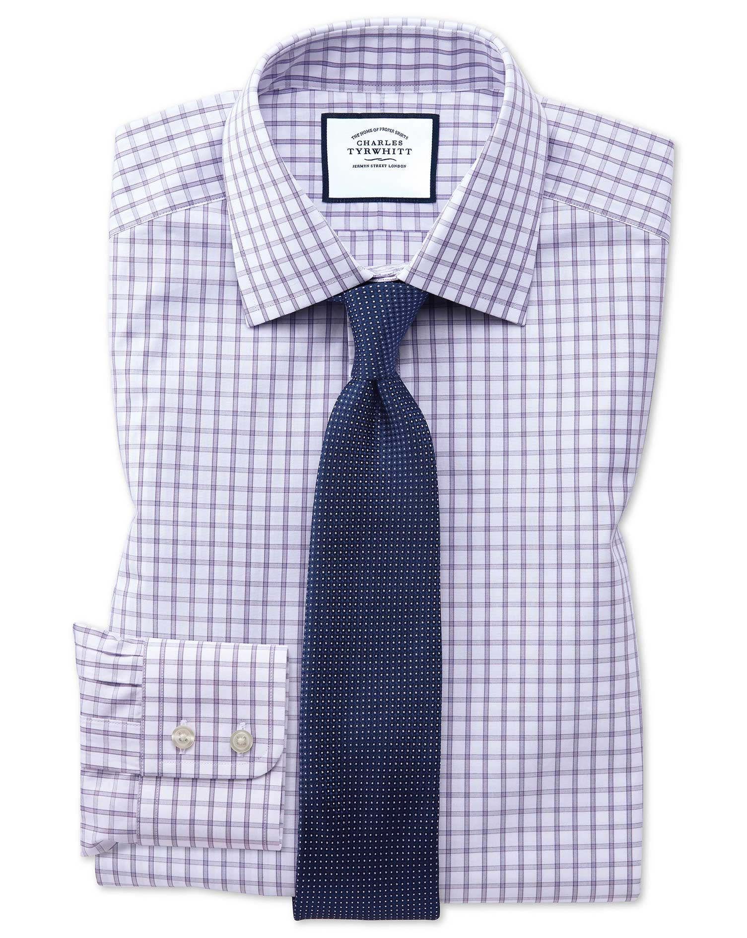 Classic Fit Purple Windowpane Check Cotton Formal Shirt Single Cuff Size 16/34 by Charles Tyrwhitt