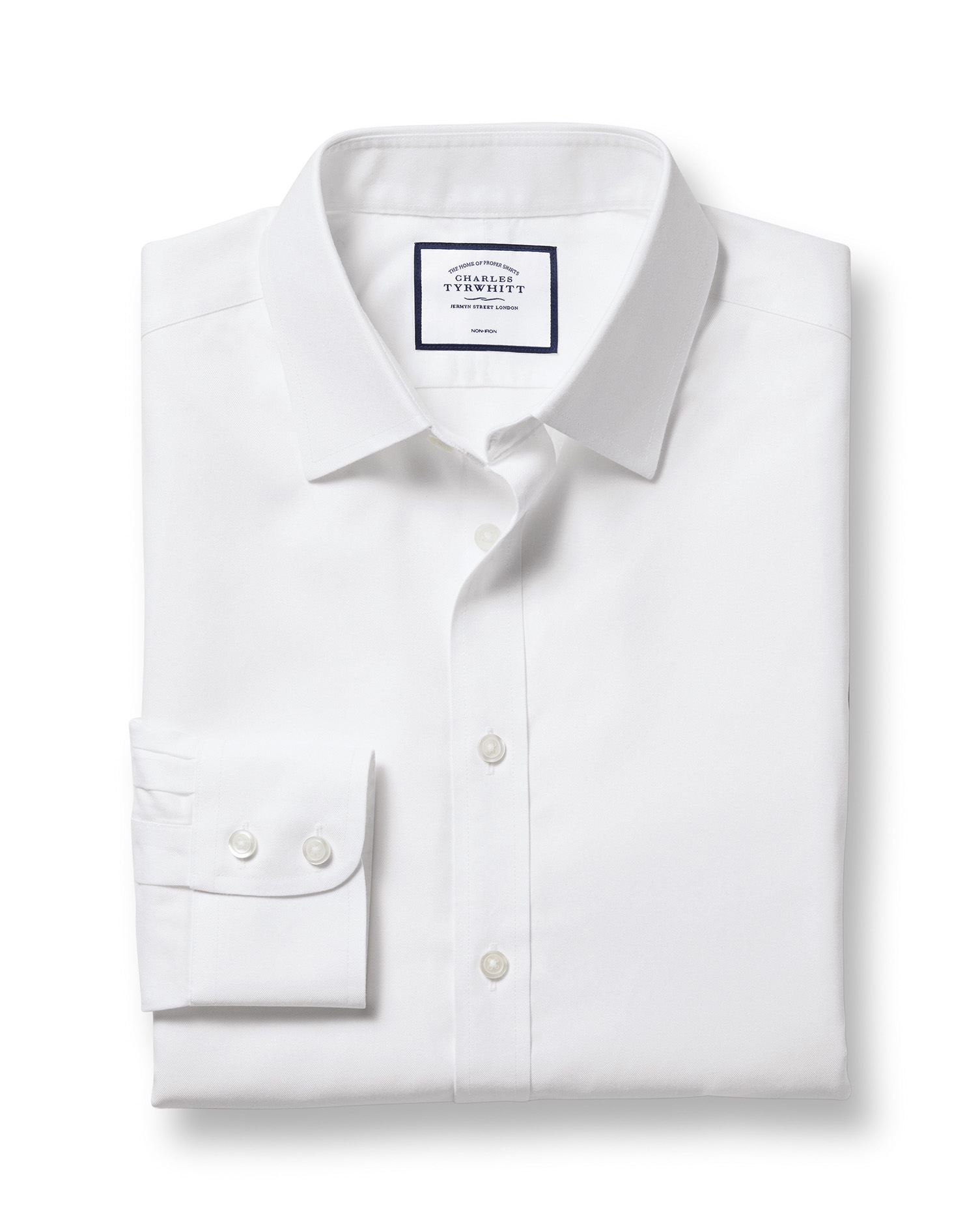 Classic Fit White Non-Iron Twill Cotton Formal Shirt Double Cuff Size 19/35 by Charles Tyrwhitt
