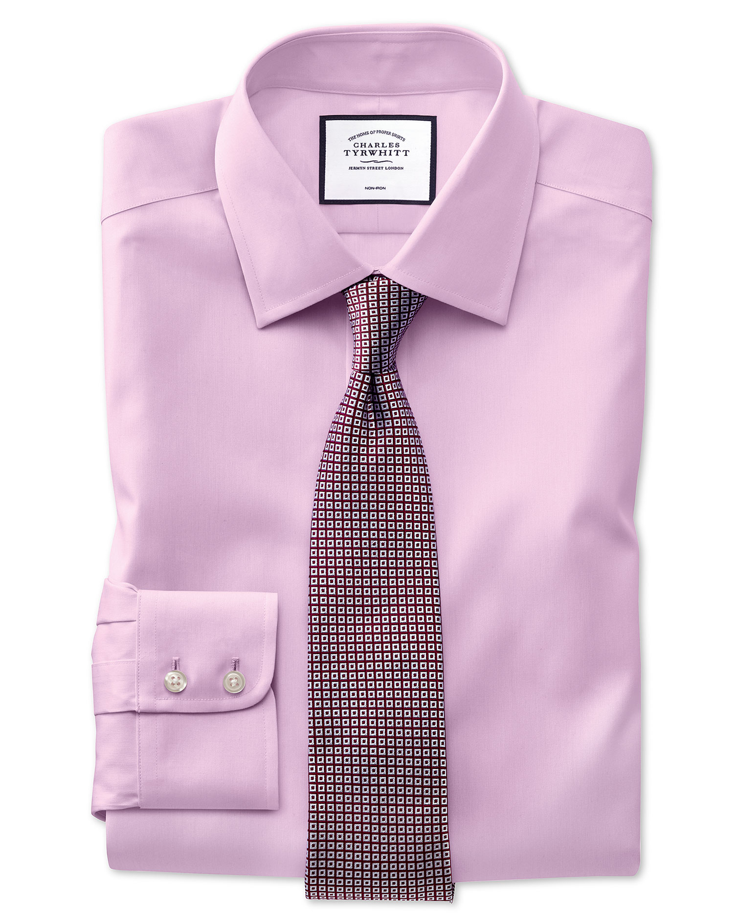 Classic Fit Pink Non-Iron Pinpoint Oxford Cotton Formal Shirt Single Cuff Size 17/35 by Charles Tyrw