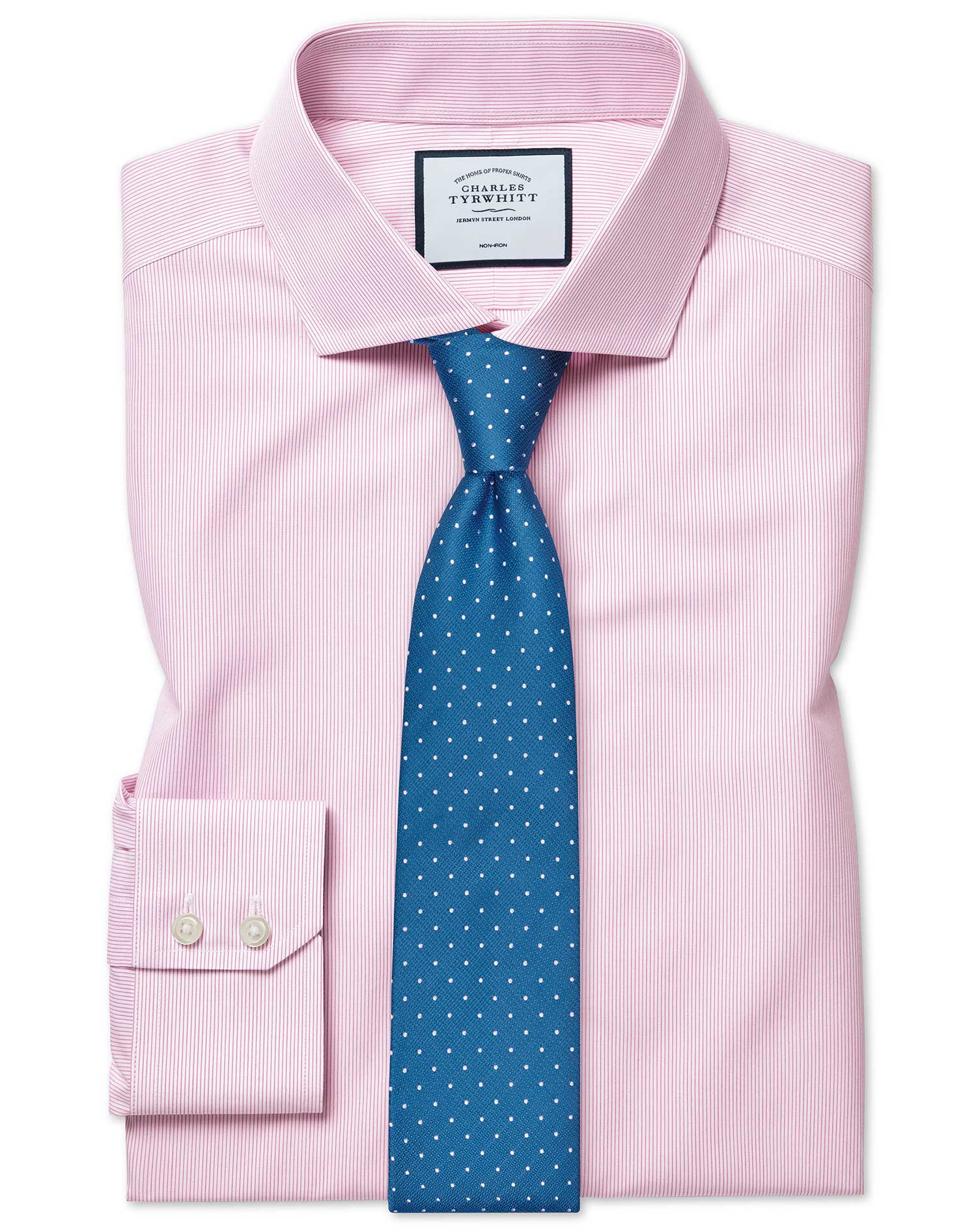 Slim Fit Non-Iron Tyrwhitt Cool Poplin Pink Stripe Cotton Formal Shirt Single Cuff Size 17/34 by Cha