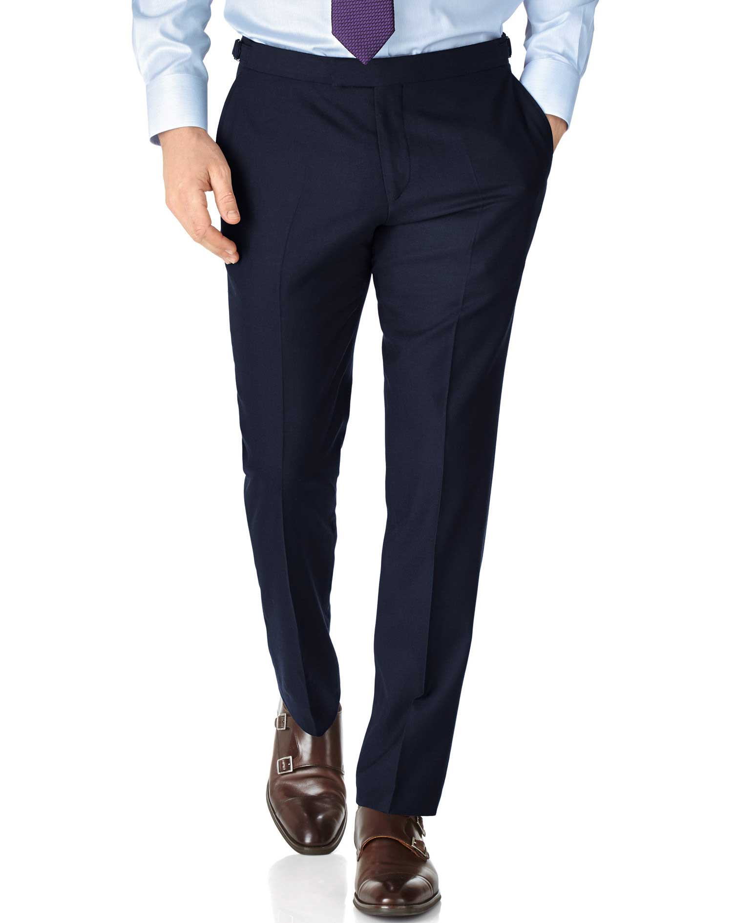 Navy Slim Fit British Serge Luxury Suit Trousers Size W32 L34 by Charles Tyrwhitt