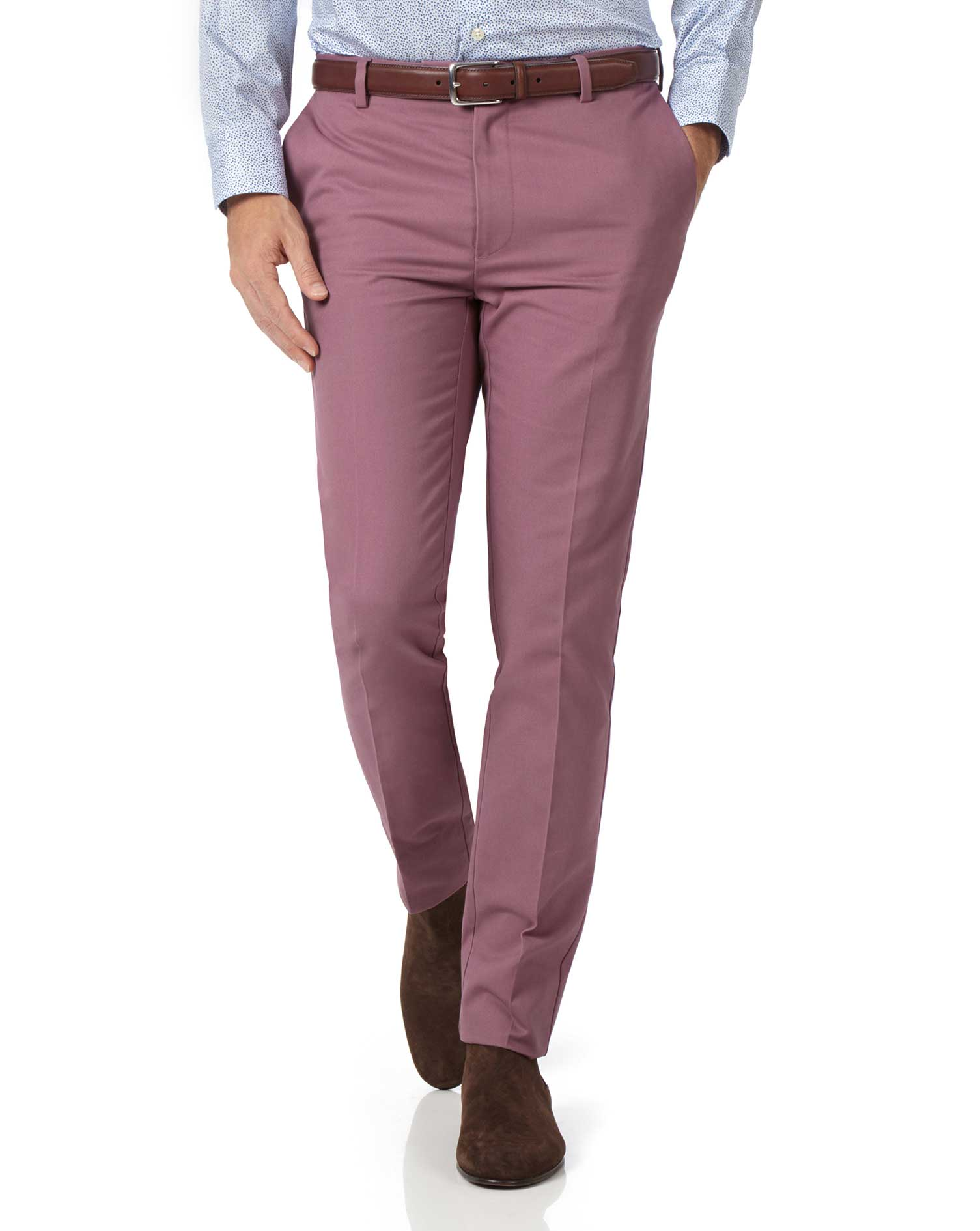 light pink slim fit flat front non-iron cotton chino pants size w34 l38 by charles tyrwhitt