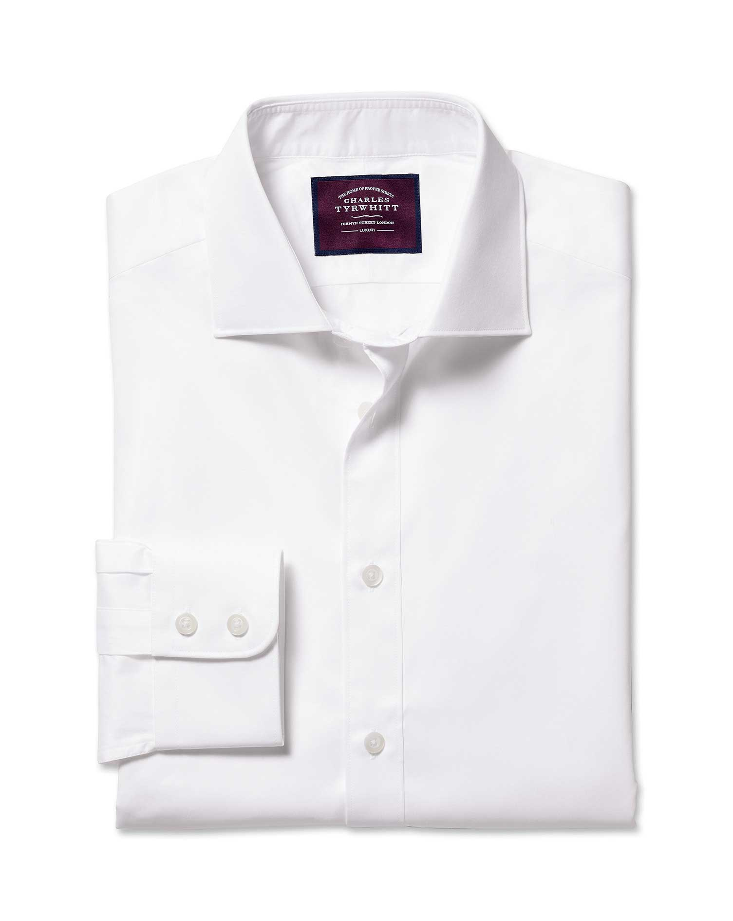 Classic Fit White Luxury Twill Egyptian Cotton Formal Shirt Double Cuff Size 17.5/34 by Charles Tyrw