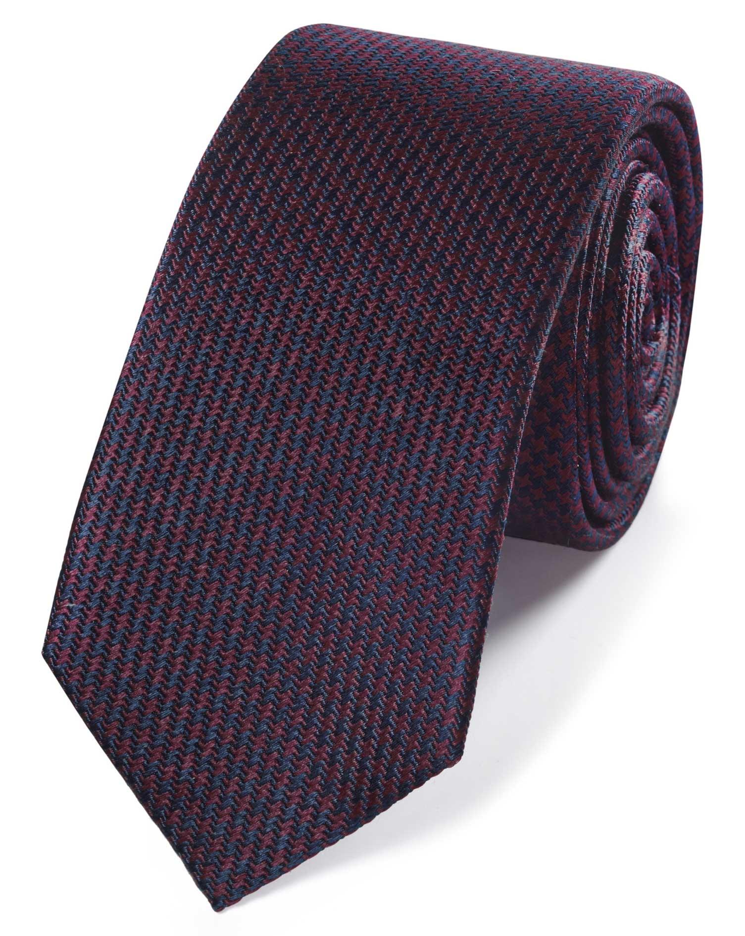 Burgundy and Navy Mini Puppytooth Slim Silk Tie Size OSFA by Charles Tyrwhitt
