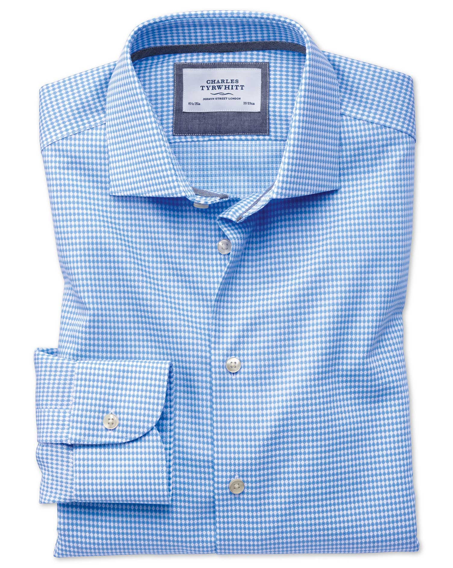 Slim Fit Semi-Cutaway Business Casual Non-Iron Modern Textures Sky Blue Cotton Formal Shirt Single C