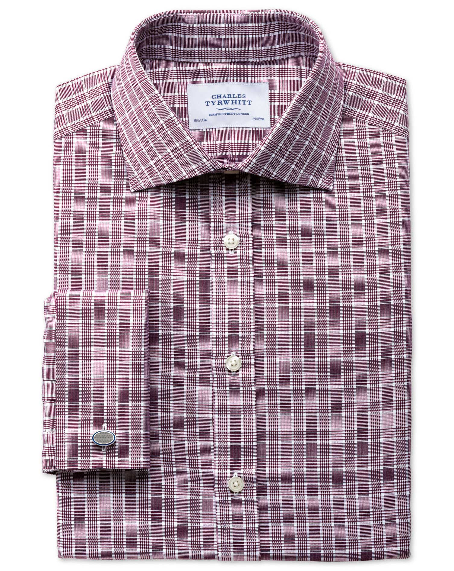 Slim Fit Prince Of Wales Basketweave Berry Cotton Formal Shirt Double Cuff Size 14.5/33 by Charles T