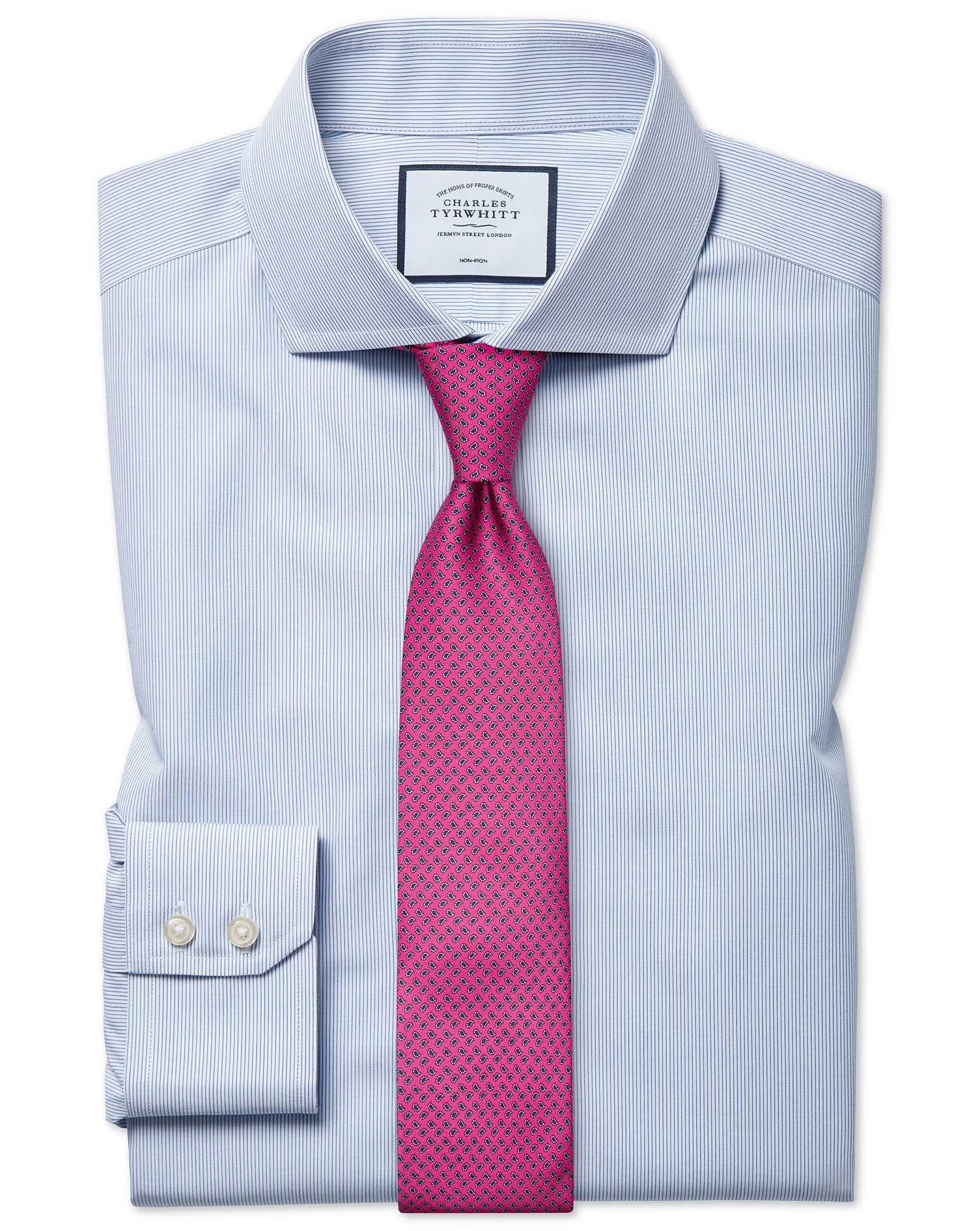 Extra Slim Fit Non-Iron Blue Stripe Tyrwhitt Cool Cotton Formal Shirt Single Cuff Size 16/36 by Char