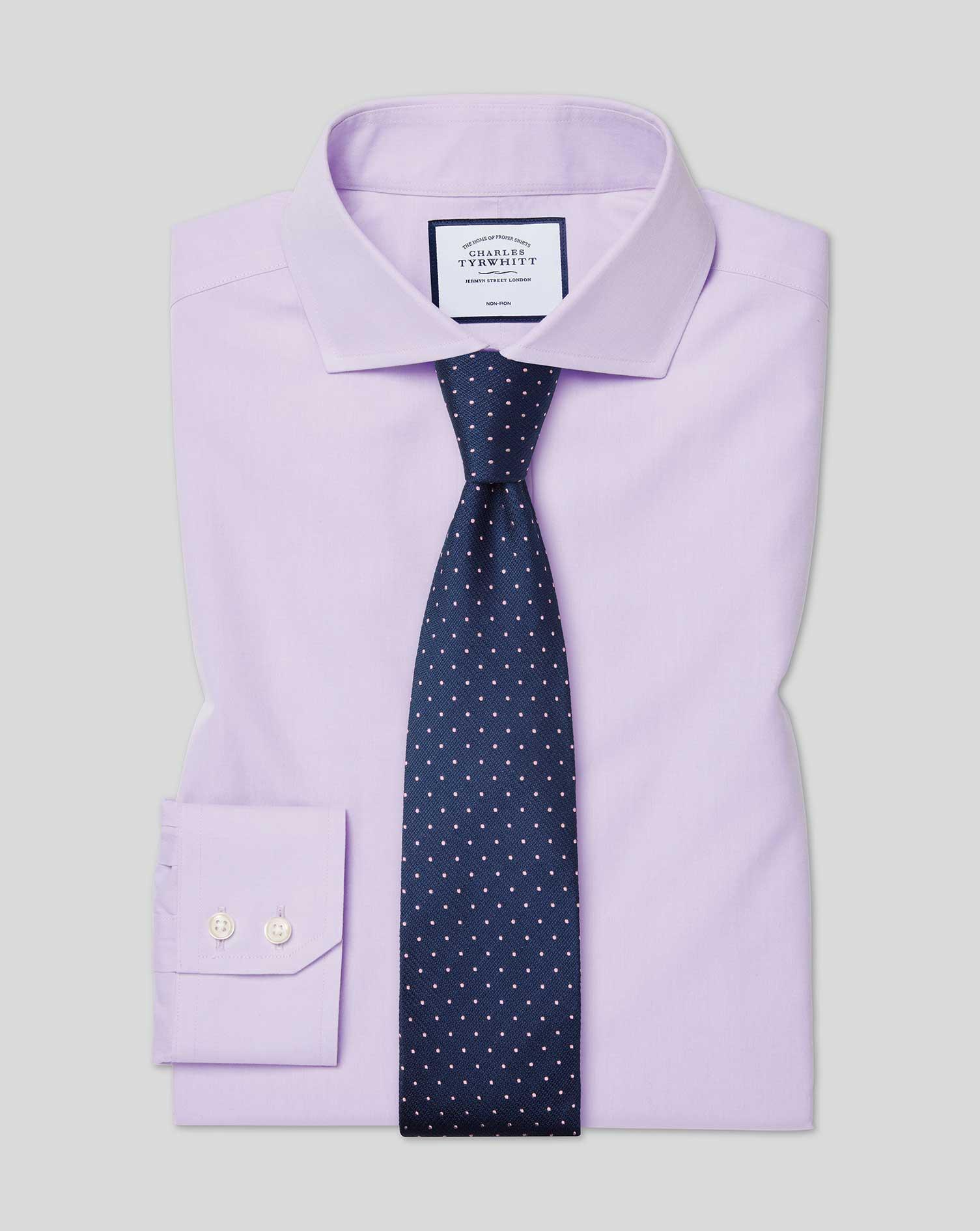 Extra Slim Fit Non-Iron Cutaway Collar Poplin Lilac Cotton Formal Shirt Single Cuff Size 17/36 by Ch