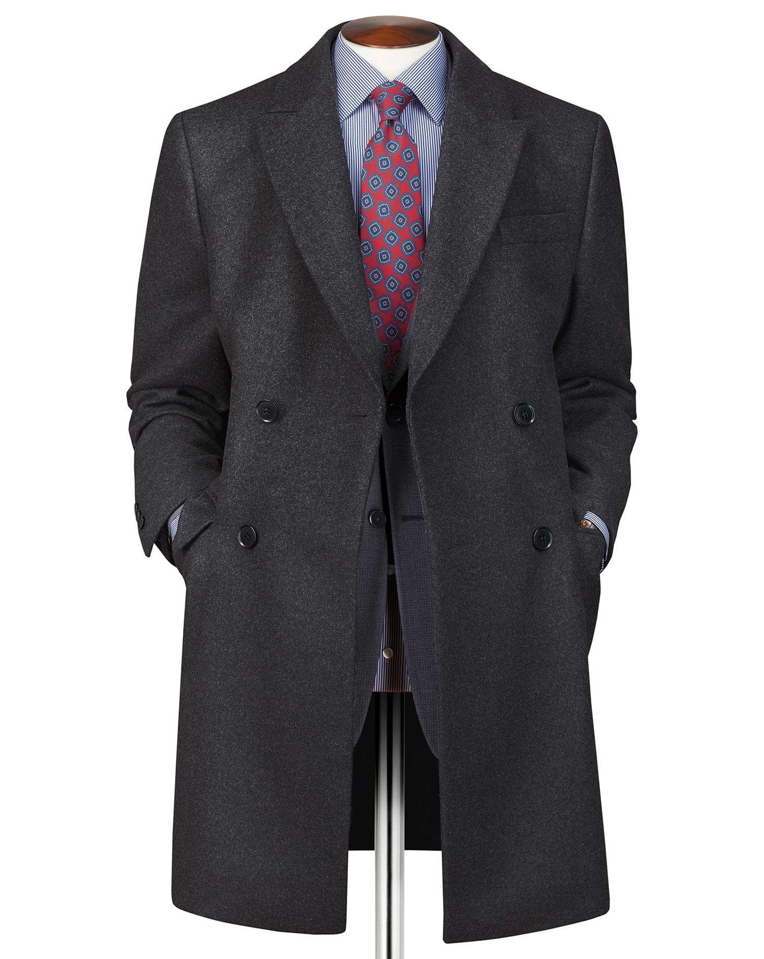 Charcoal Wool Cashmere Epsom Overcoat Size 48 Regular by Charles Tyrwhitt