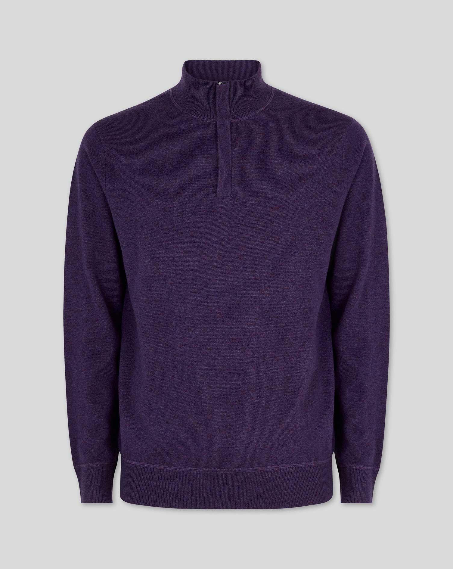 Dark Purple Merino Cashmere Zip Neck Jumper