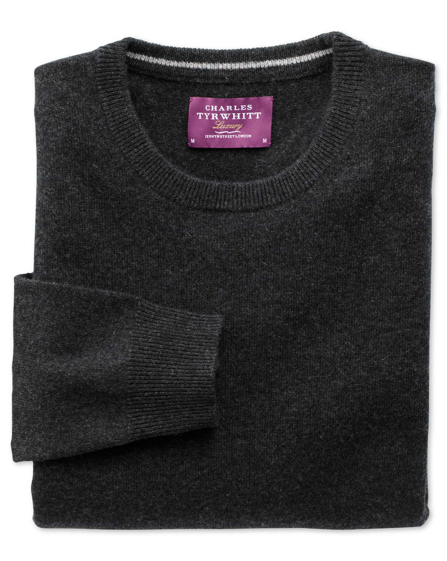 Charcoal Cashmere Crew Neck Jumper Size XXXL by Charles Tyrwhitt