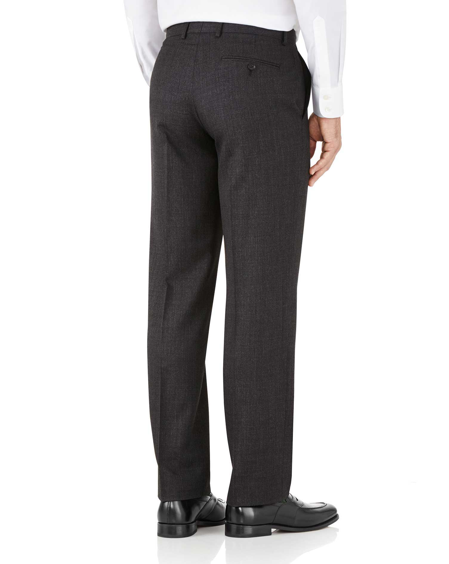 Charcoal classic fit hairline business suit trousers