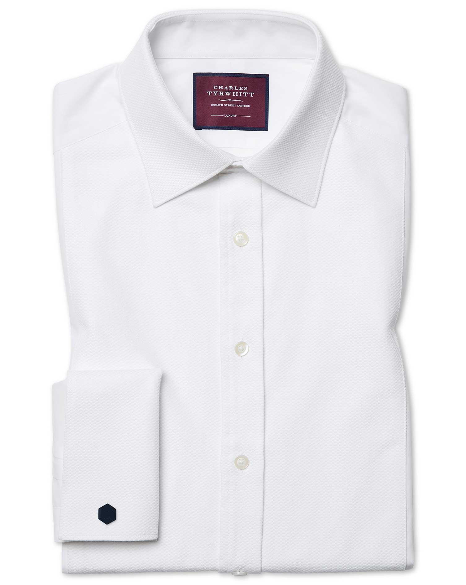 Classic Fit Luxury Marcella Bib Front White Evening Egyptian Cotton Formal Shirt Double Cuff Size 17