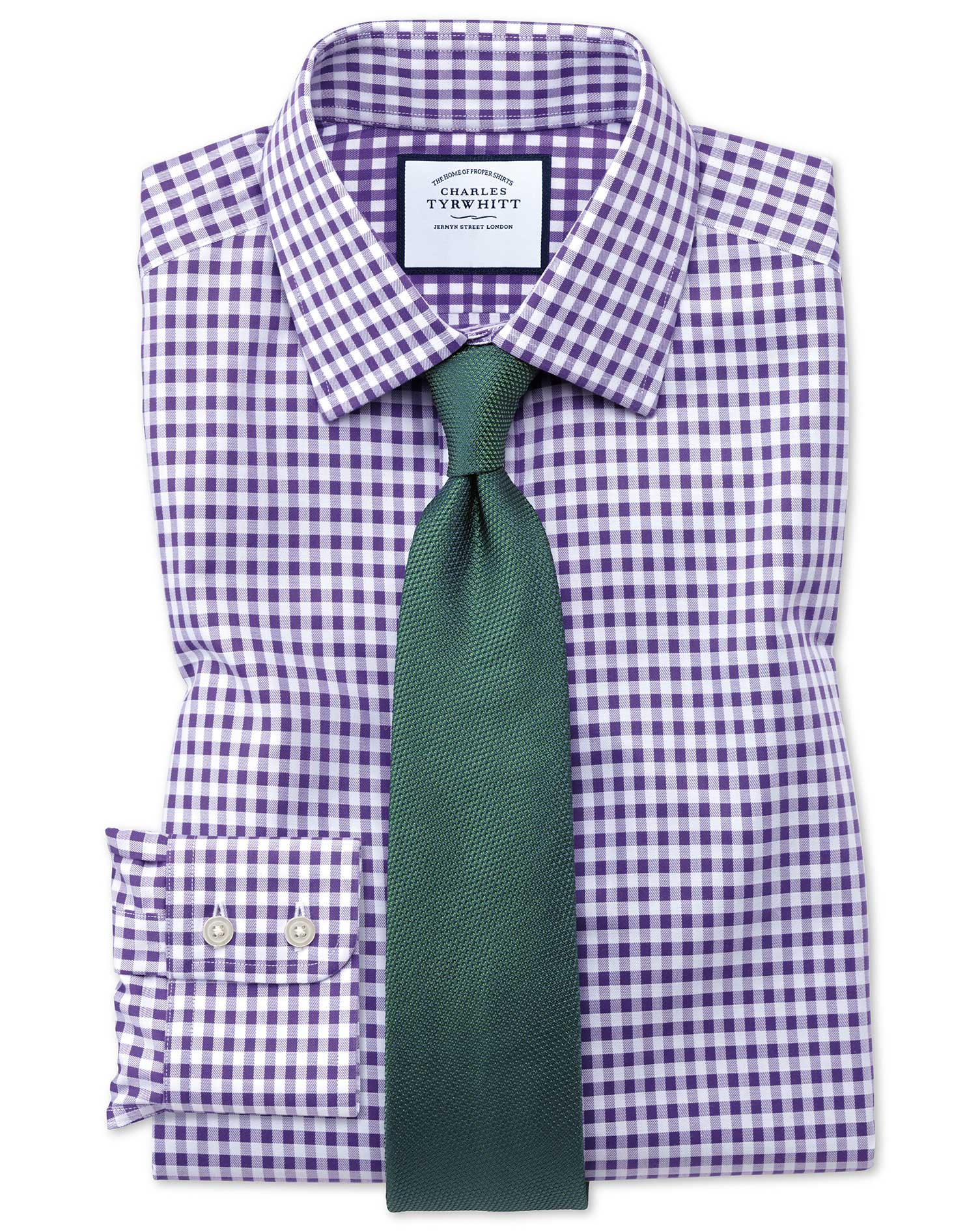 Classic Fit Non-Iron Gingham Purple Cotton Formal Shirt Single Cuff Size 17/34 by Charles Tyrwhitt