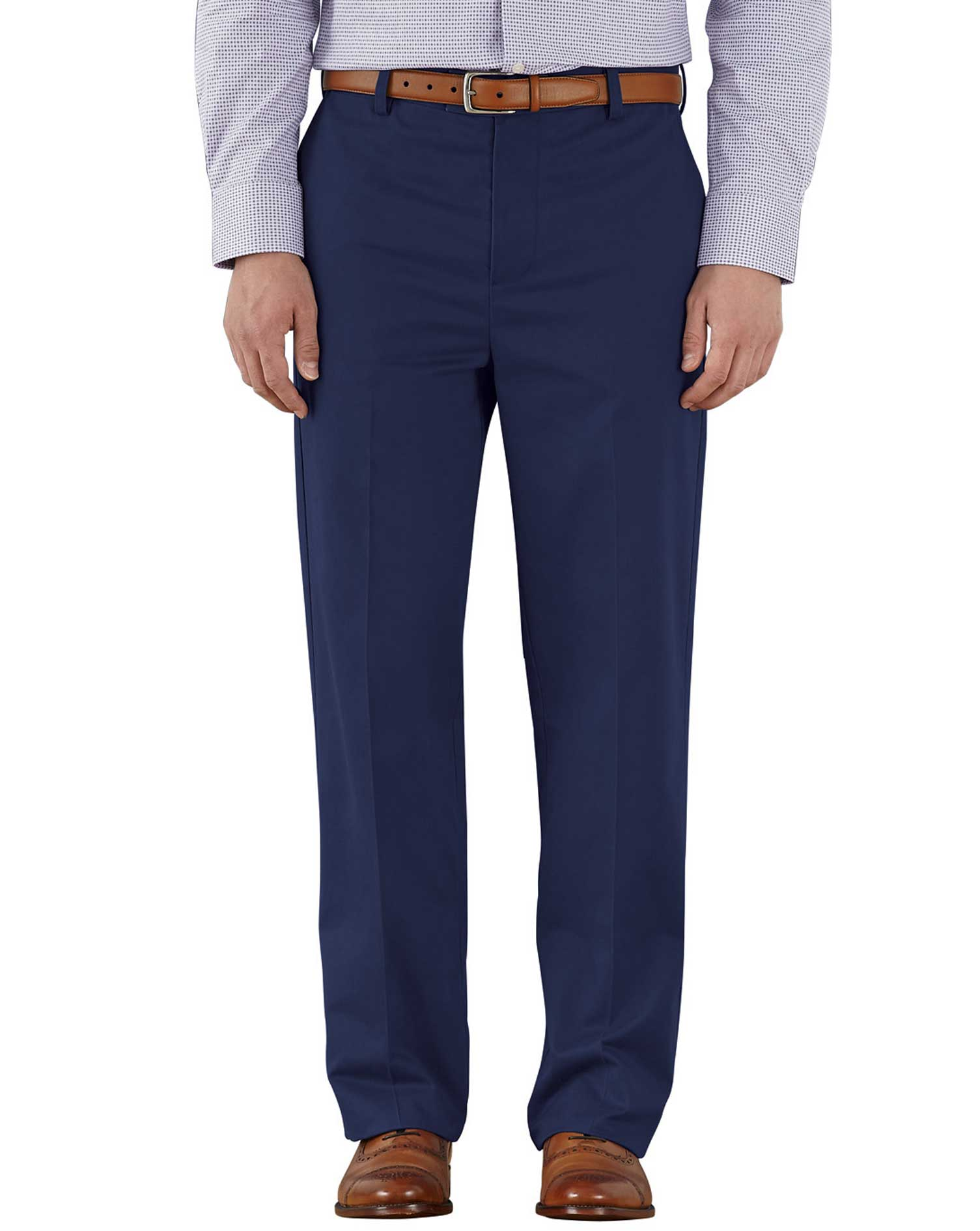 Marine Blue Classic Fit Flat Front Non-Iron Cotton Chino Trousers Size W36 L34 by Charles Tyrwhitt